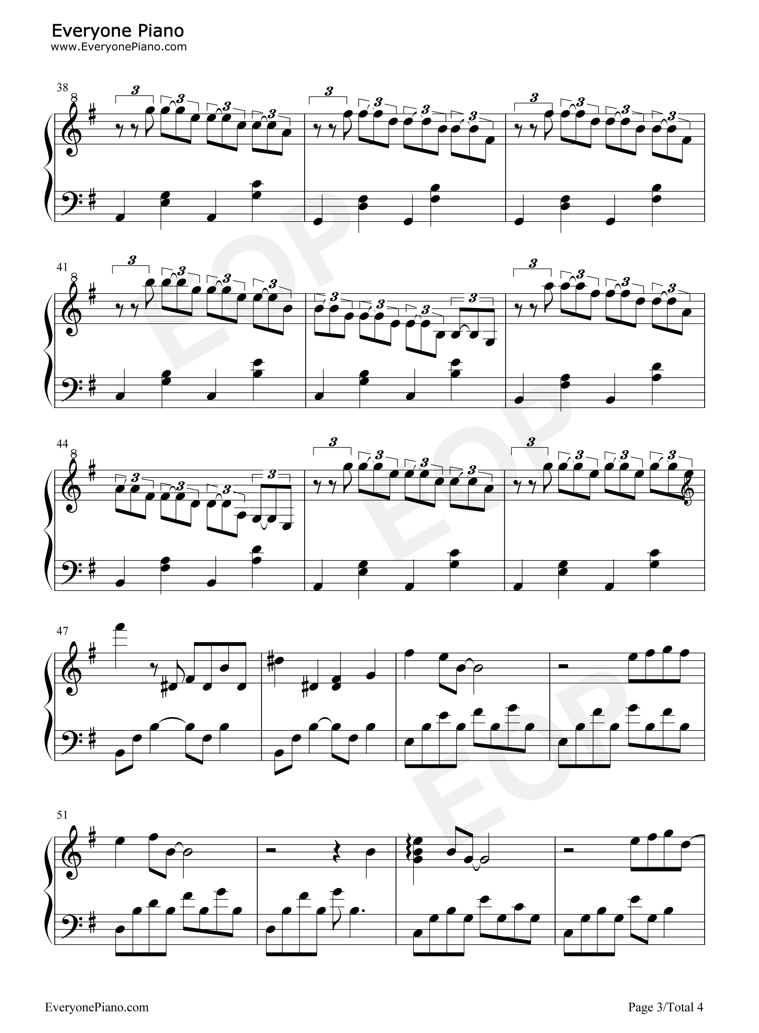 暗恋-夜的钢琴曲 ii五线谱预览3