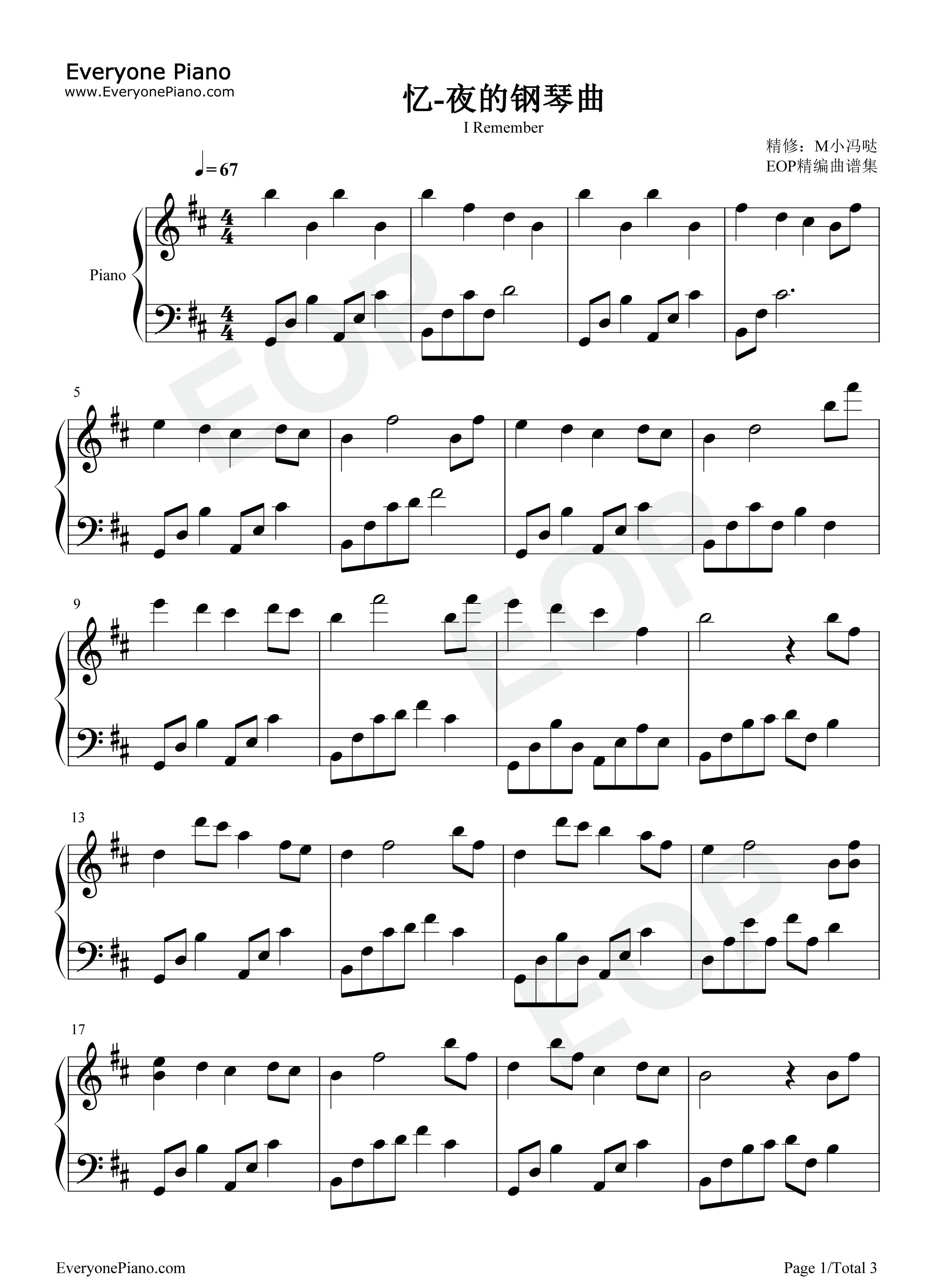 忆-夜的钢琴曲五线谱预览1-钢琴谱(五线谱,双手简谱)