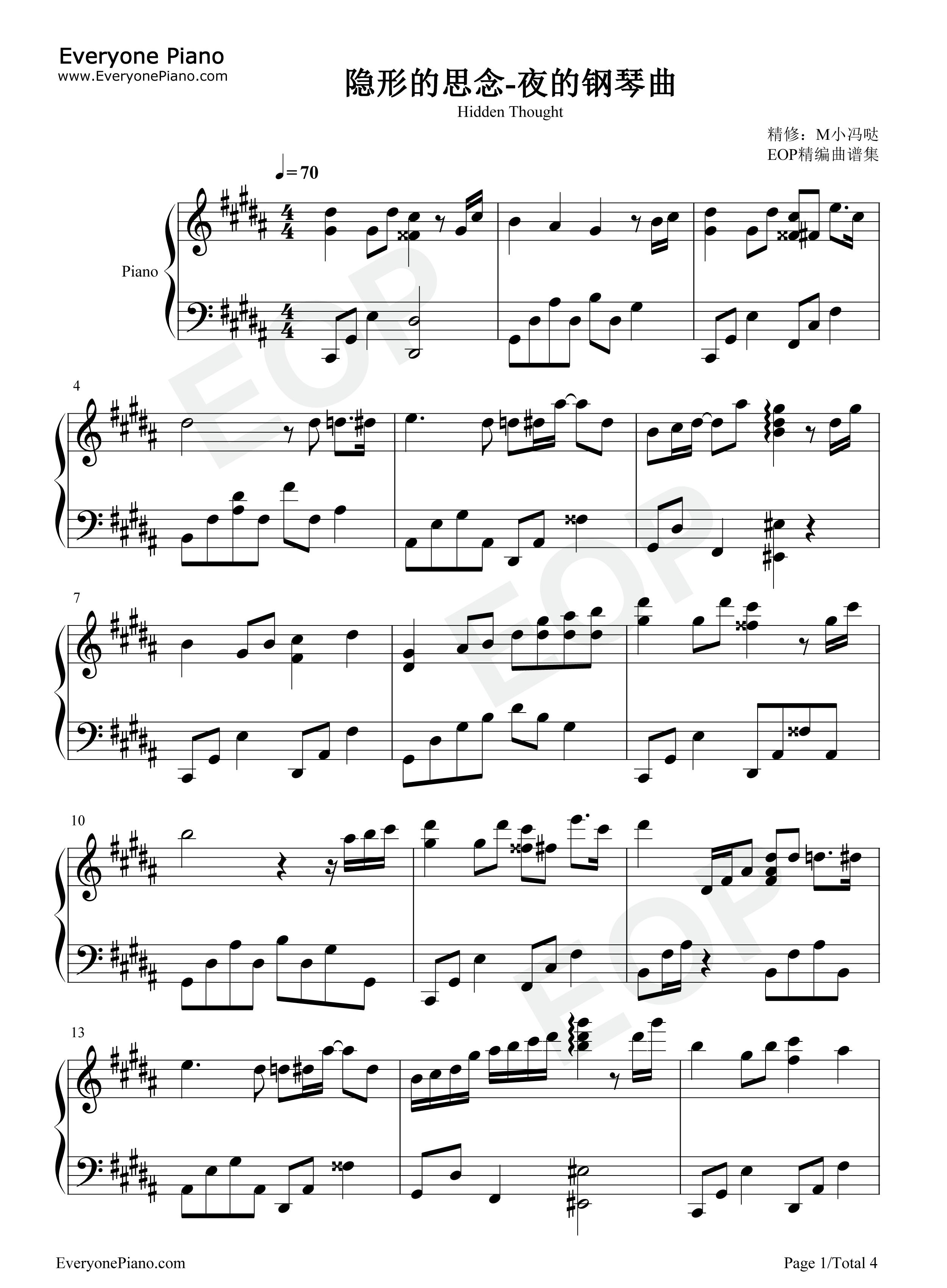 钢琴曲谱 轻音乐 隐形的思念-夜的钢琴曲 隐形的思念-夜的钢琴曲