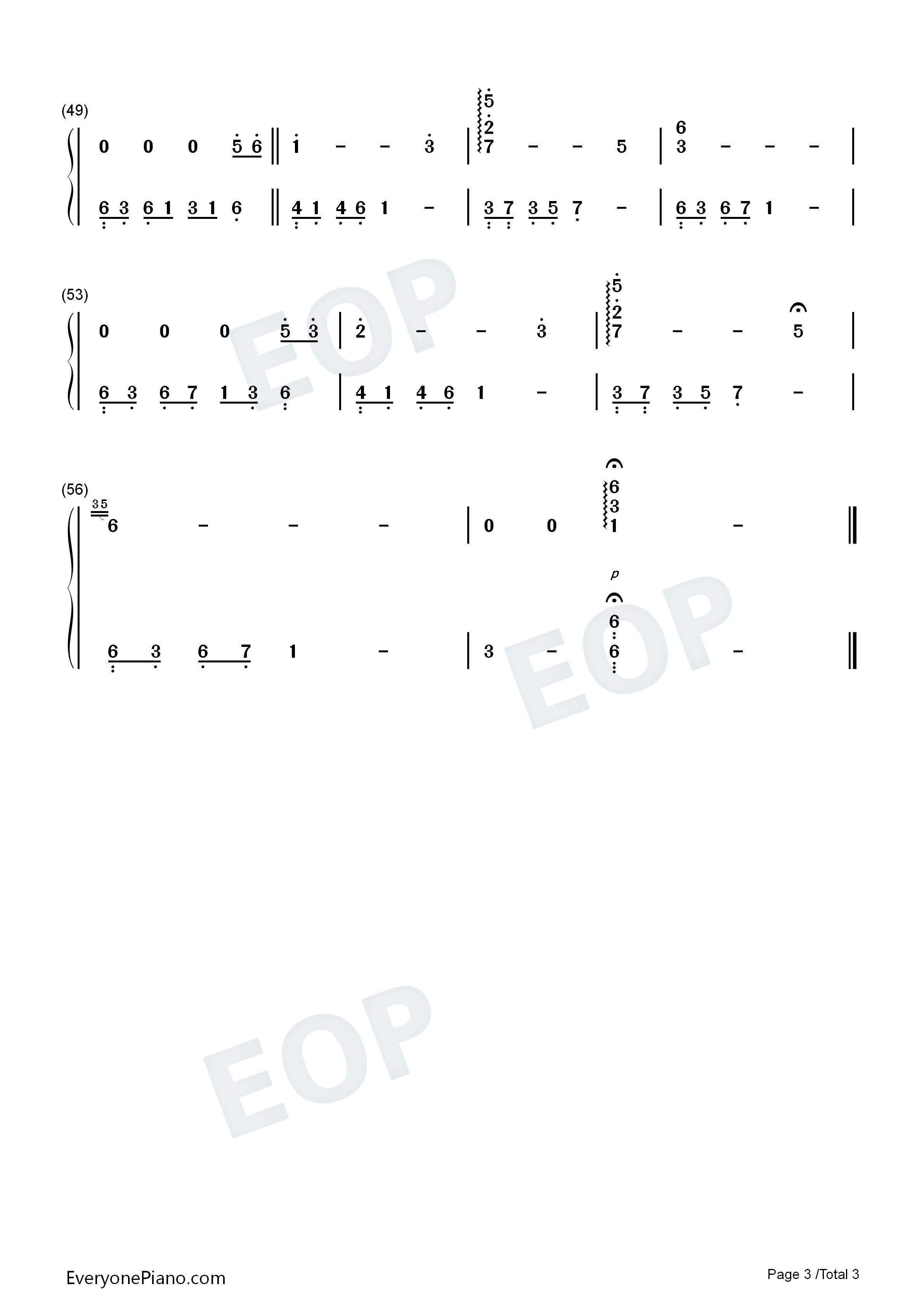 忘了我爱你-夜的钢琴曲 Ⅱ双手简谱预览3