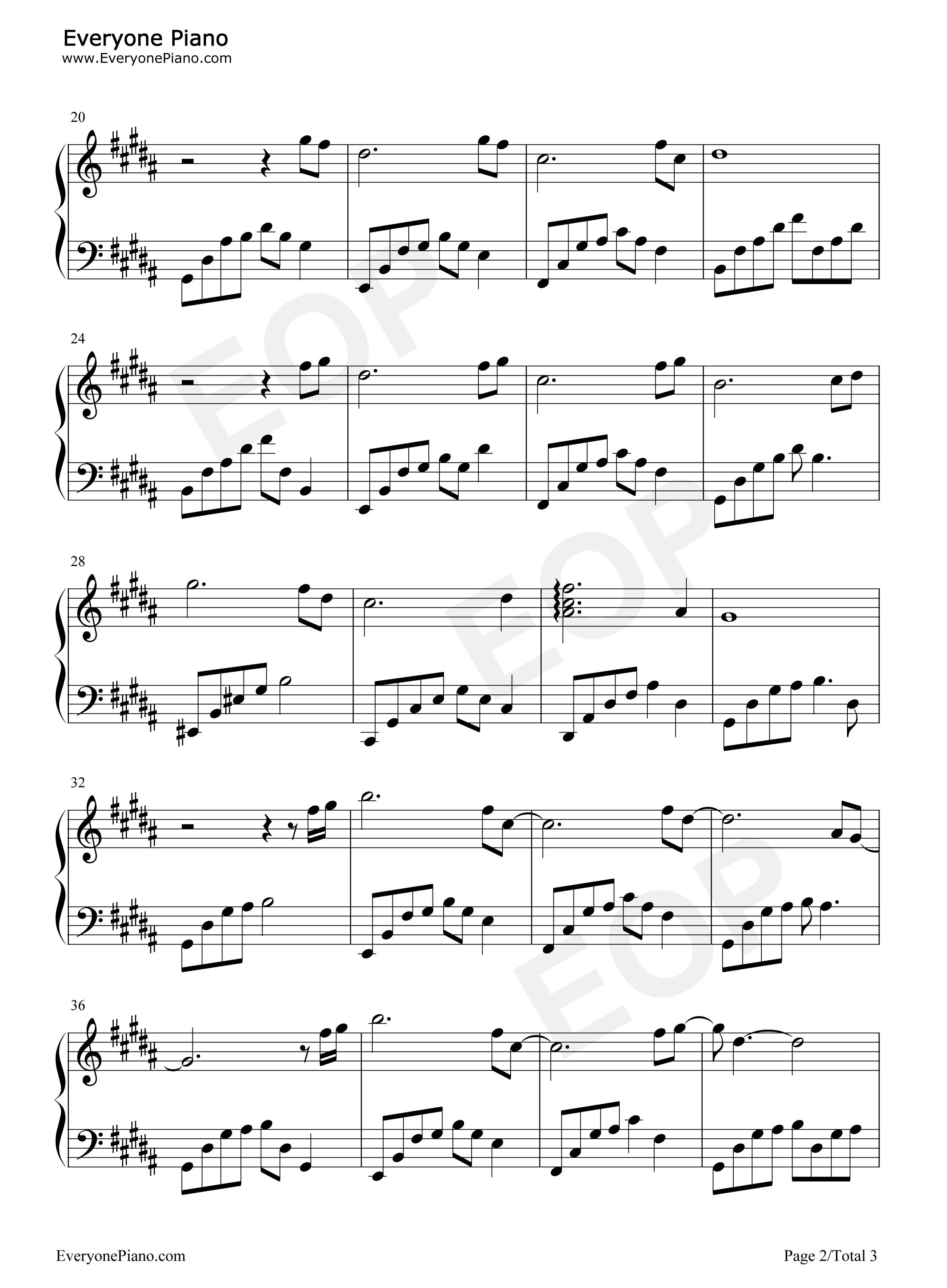 忘了我爱你-夜的钢琴曲 Ⅱ五线谱预览