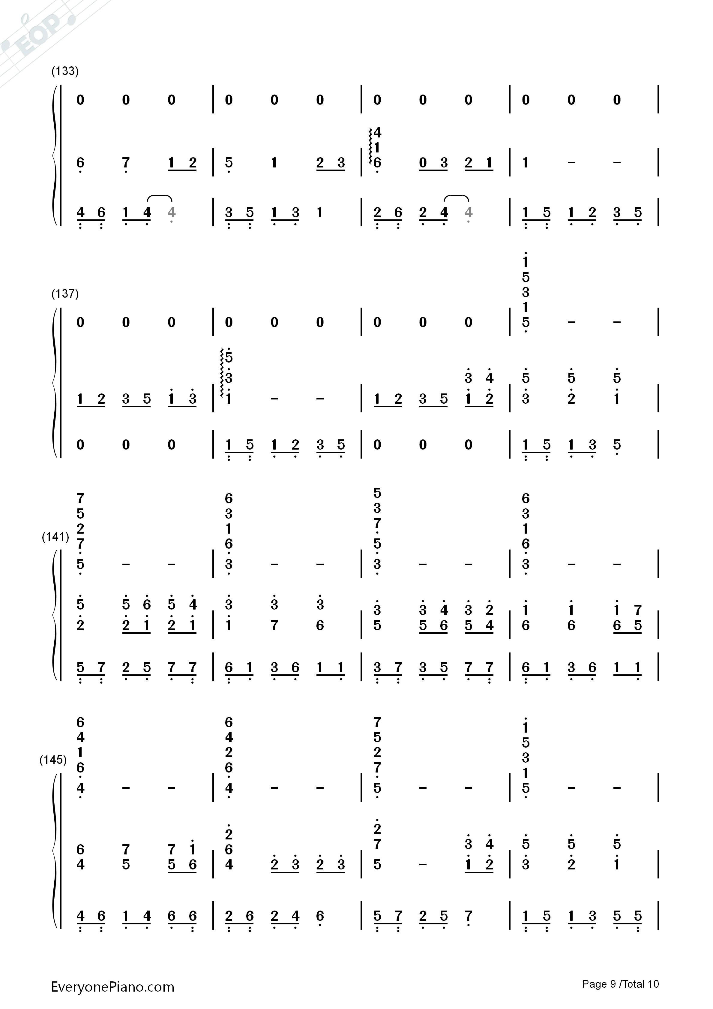千与千寻和卡农合奏-久石让双手简谱预览9-钢琴谱(,)