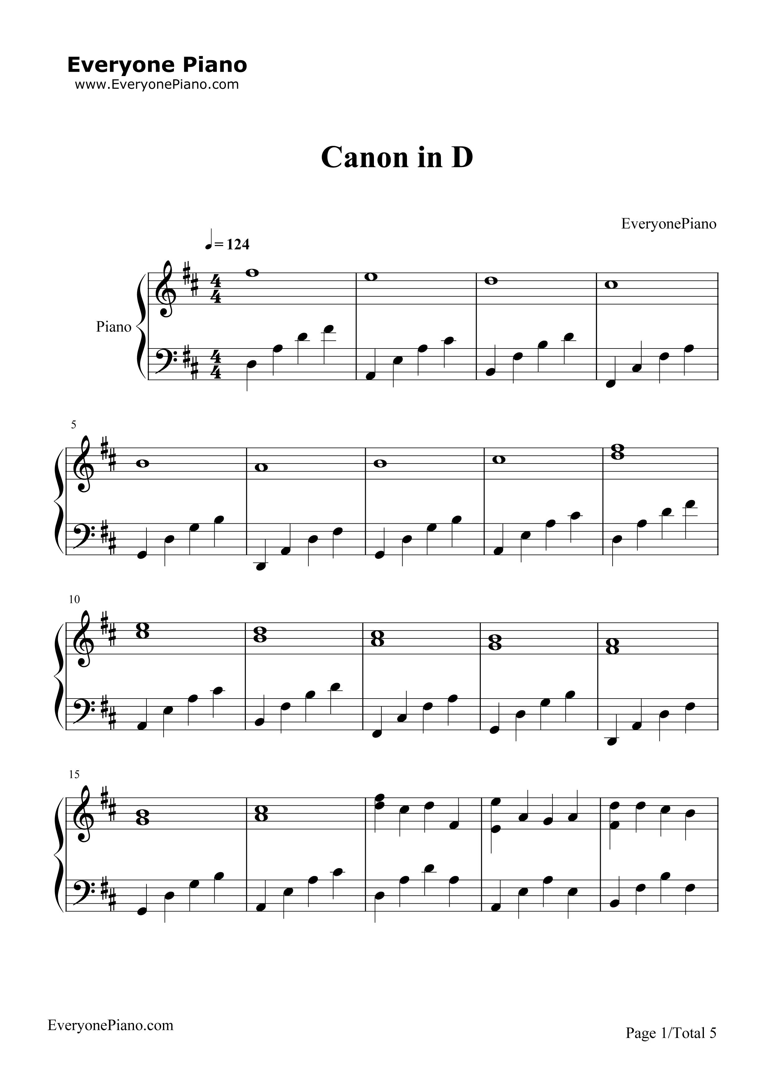 钢琴曲谱 轻音乐 d大调卡农-帕赫贝尔 d大调卡农-帕赫贝尔五线谱预览1