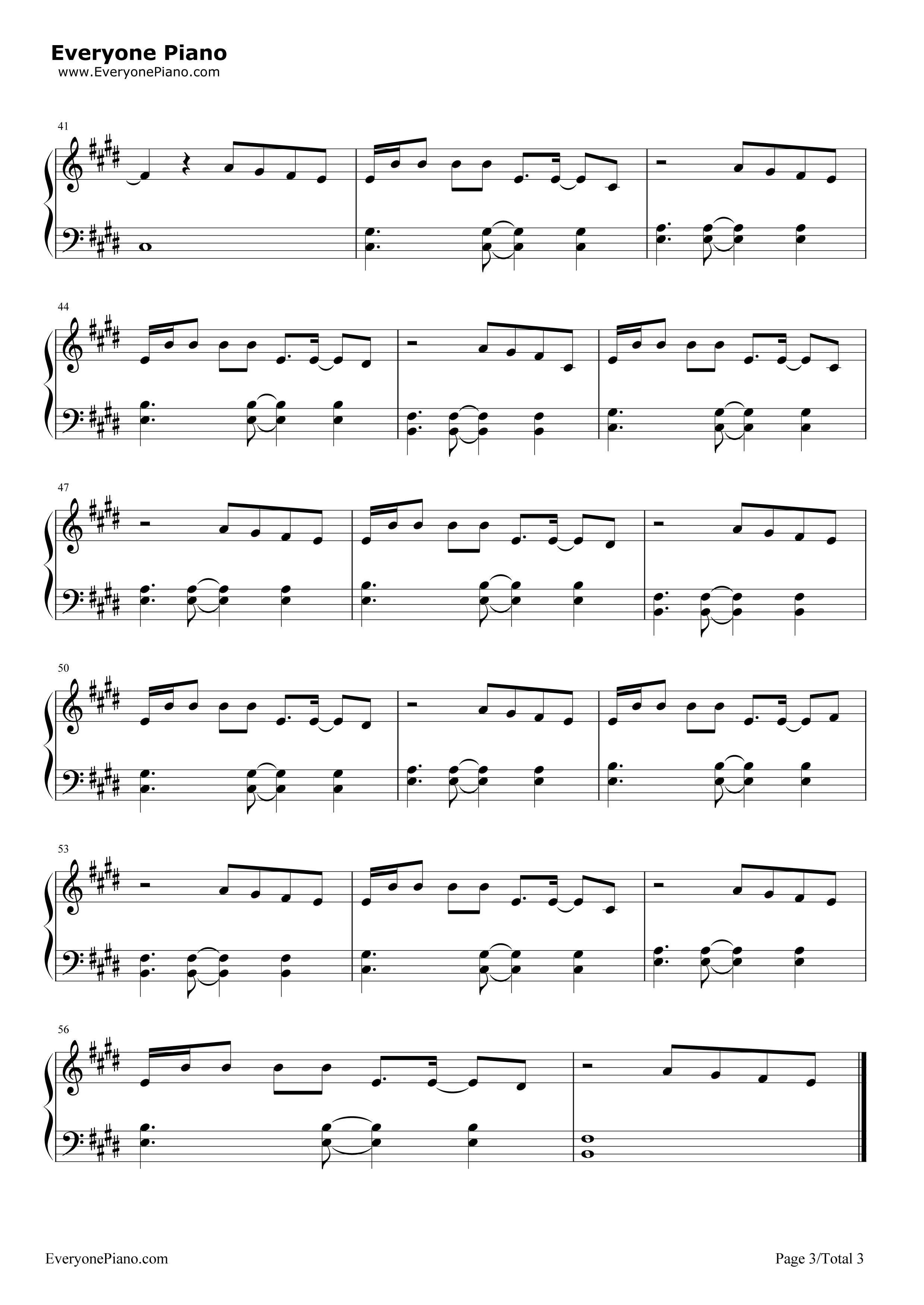 光年之外-《太空旅客》中文主题曲五线谱预览3-钢琴谱图片