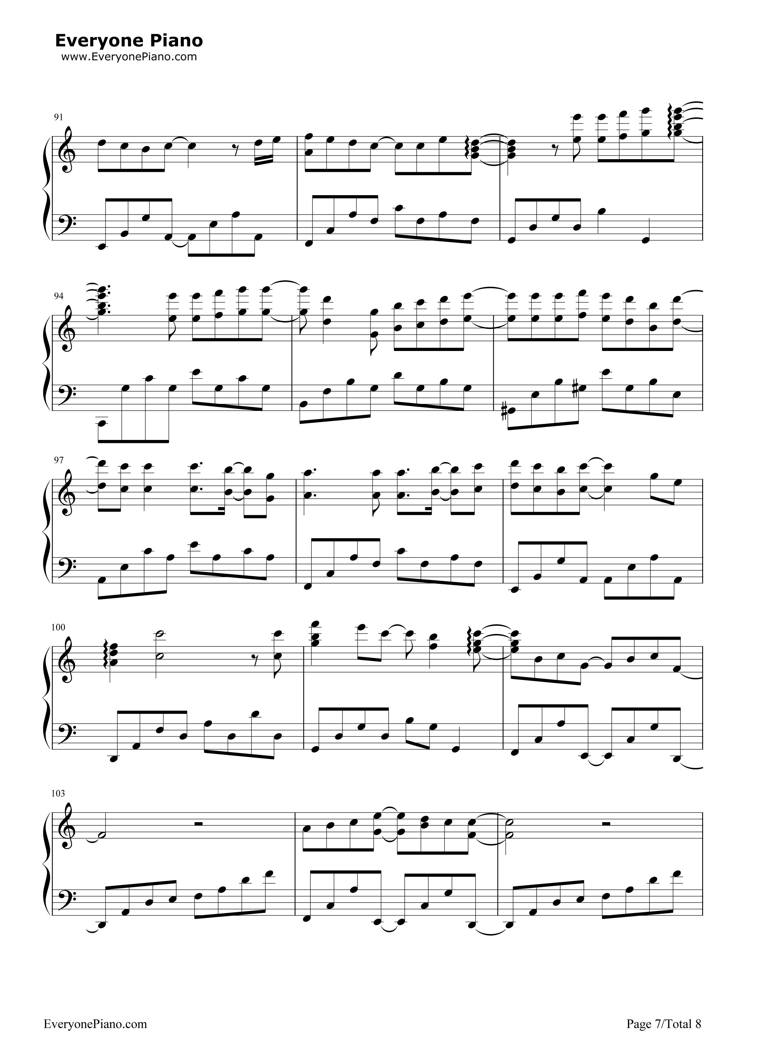 钢琴曲谱 流行 萤火-tfboys最新歌曲 萤火-tfboys最新歌曲五线谱预览7