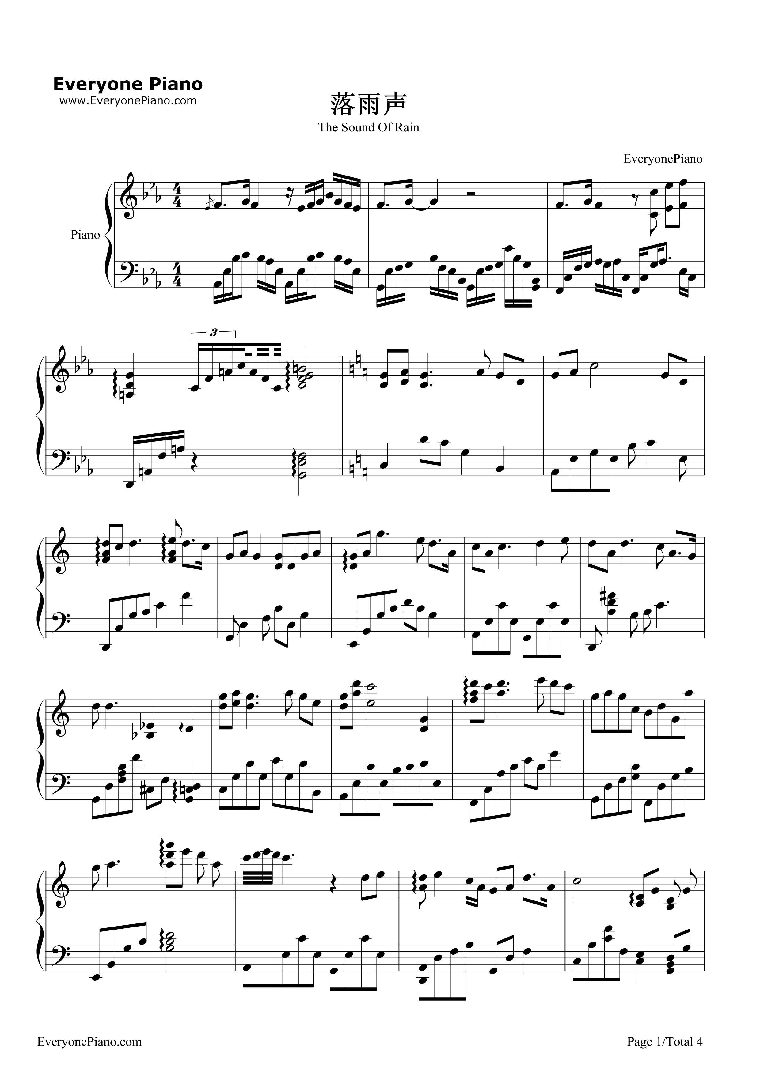 钢琴曲谱 流行 落雨声-周杰伦 落雨声-周杰伦五线谱预览1  }  仅供
