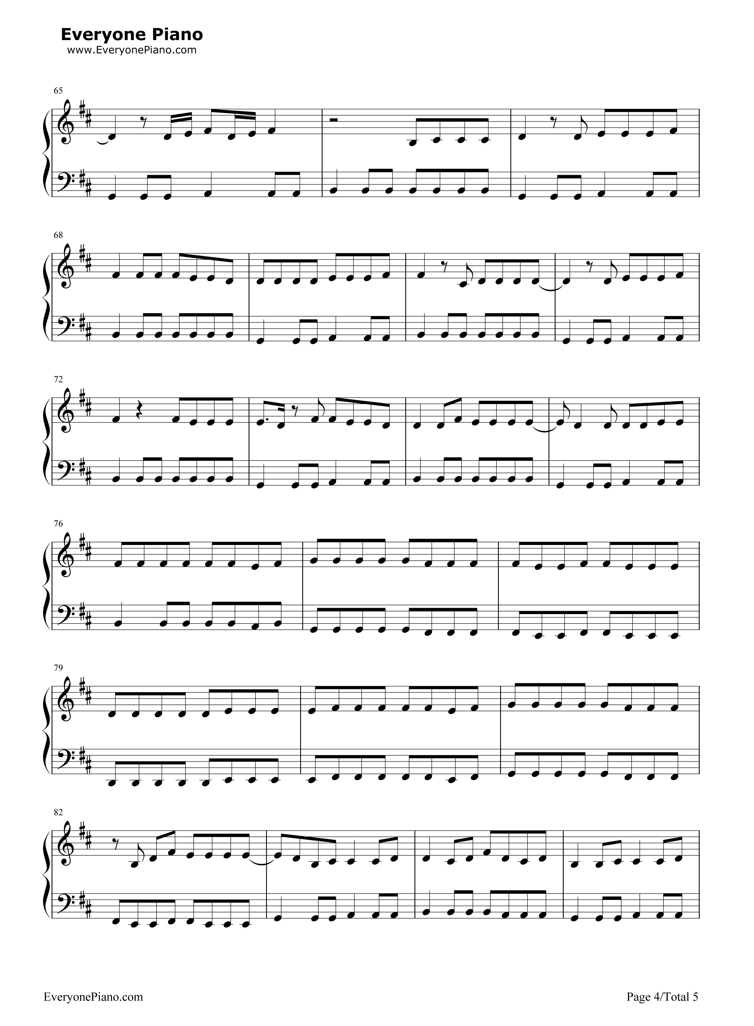 谁廖俊涛钢琴曲谱-五线谱预览4 钢琴谱档 五线谱 双手简谱 数位谱 Midi PDF 免费下载