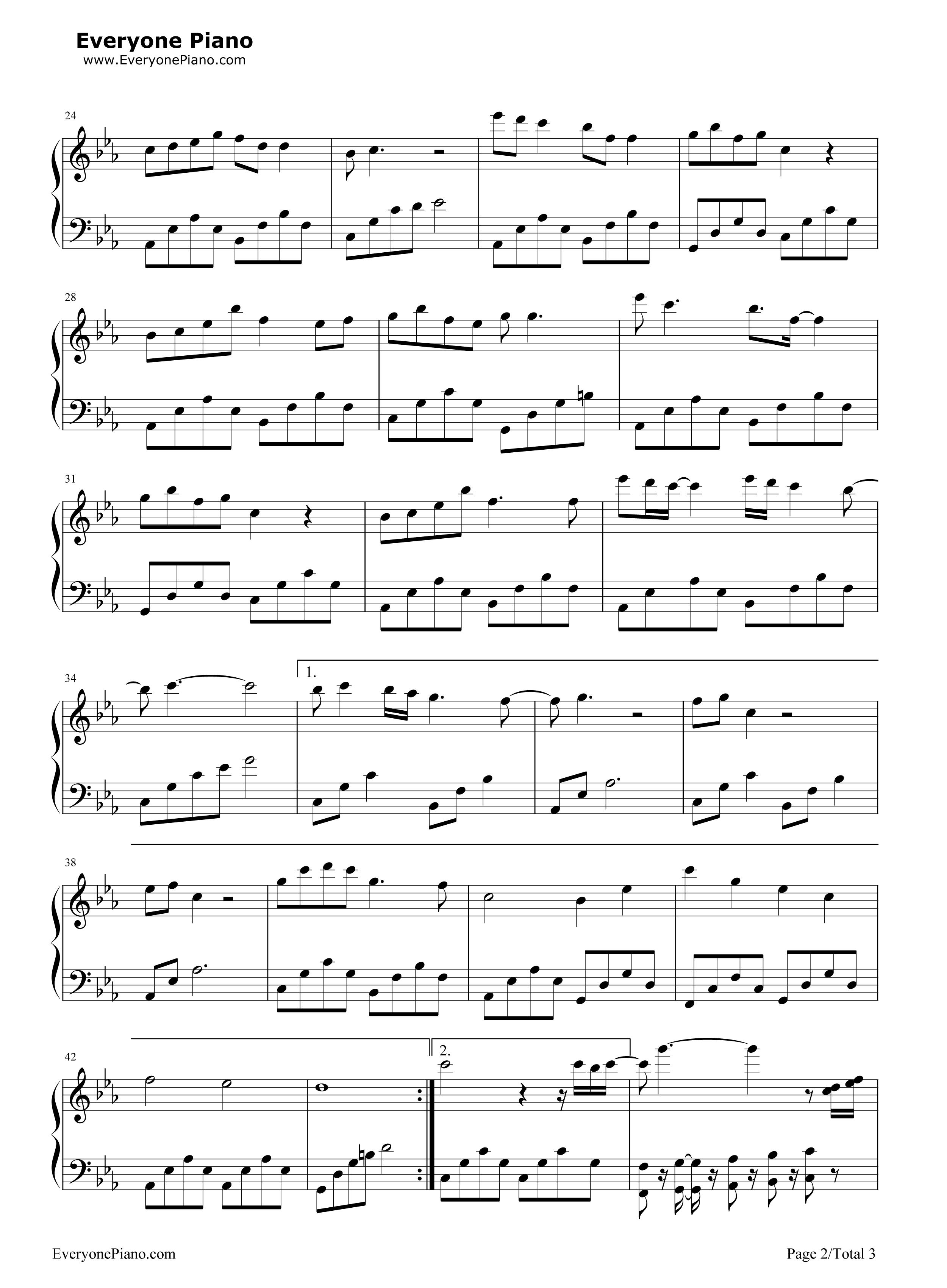 钢琴曲谱 影视 思慕-《三生三世十裏桃花》主人公人物曲 思慕-《三生