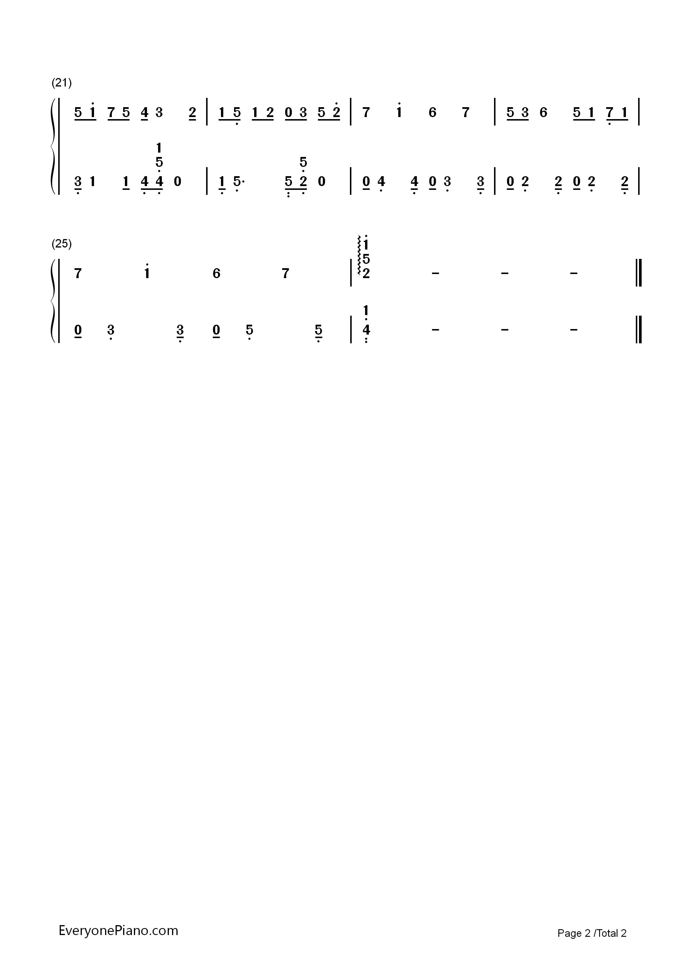 三叶の通学-《你的名字》插曲双手简谱预览2-钢琴谱