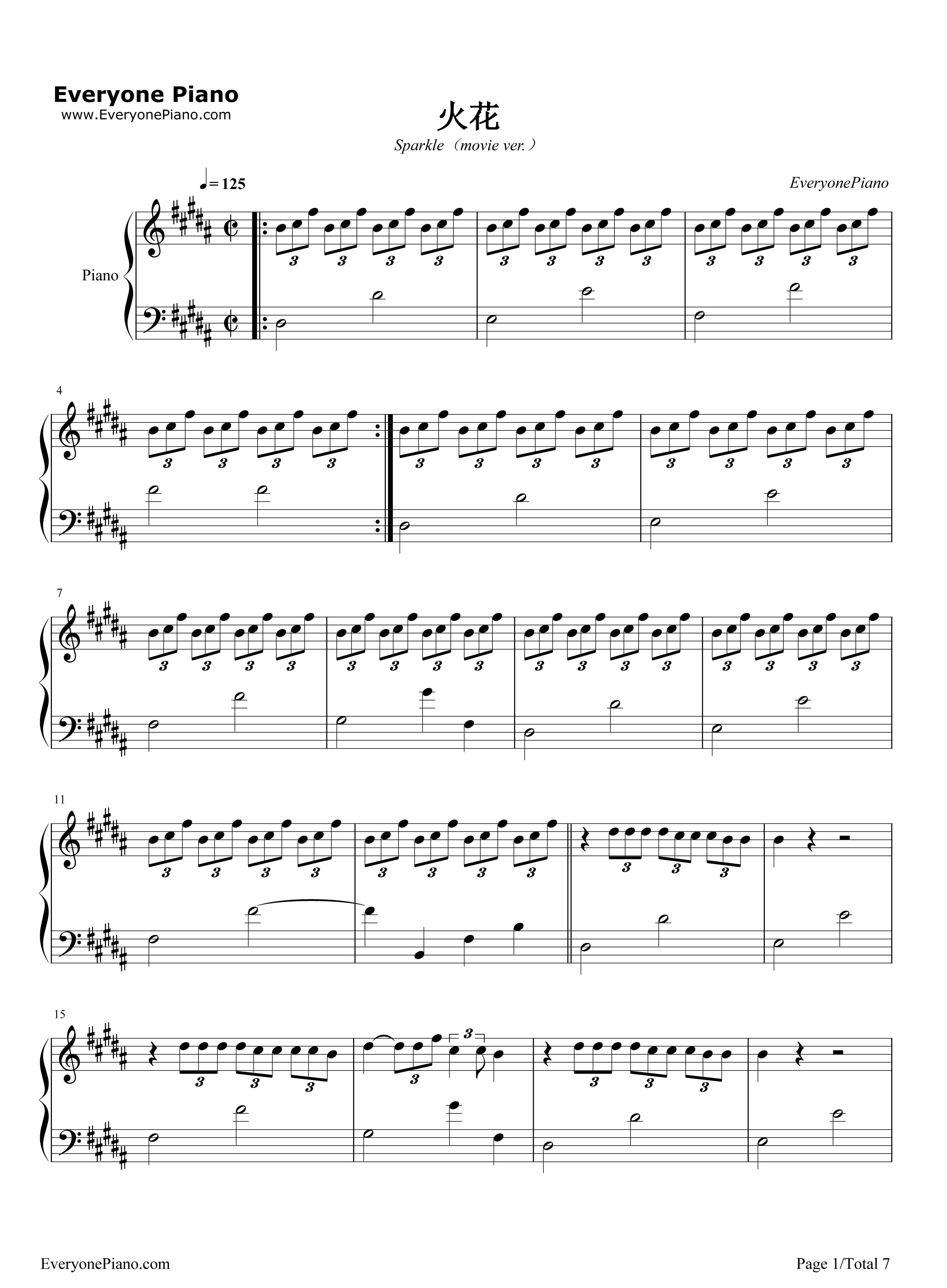 火花-《你的名字》插曲五线谱预览1
