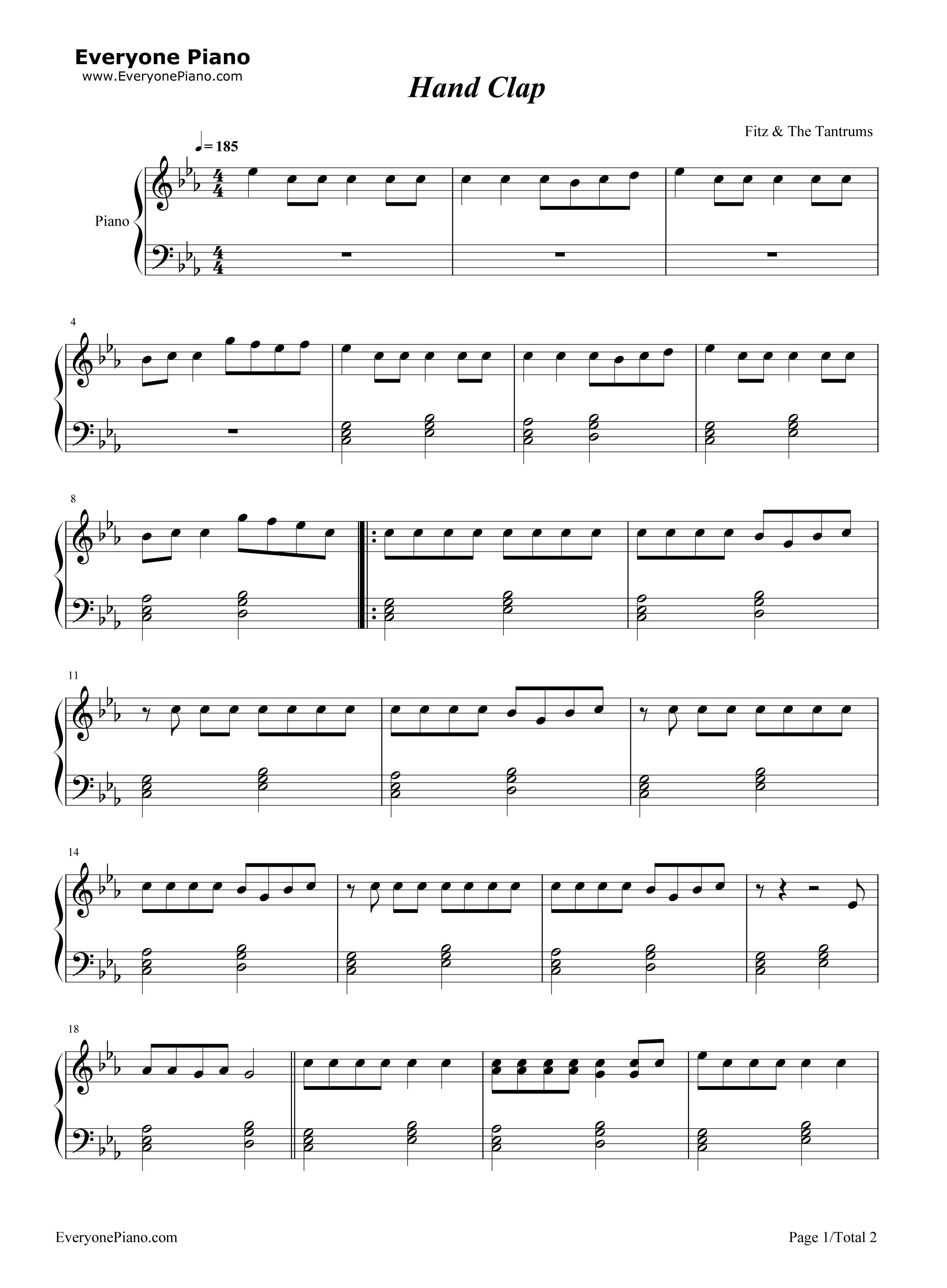 钢琴曲谱 流行 handclap-fitz and the tantrums handclap-fitz and