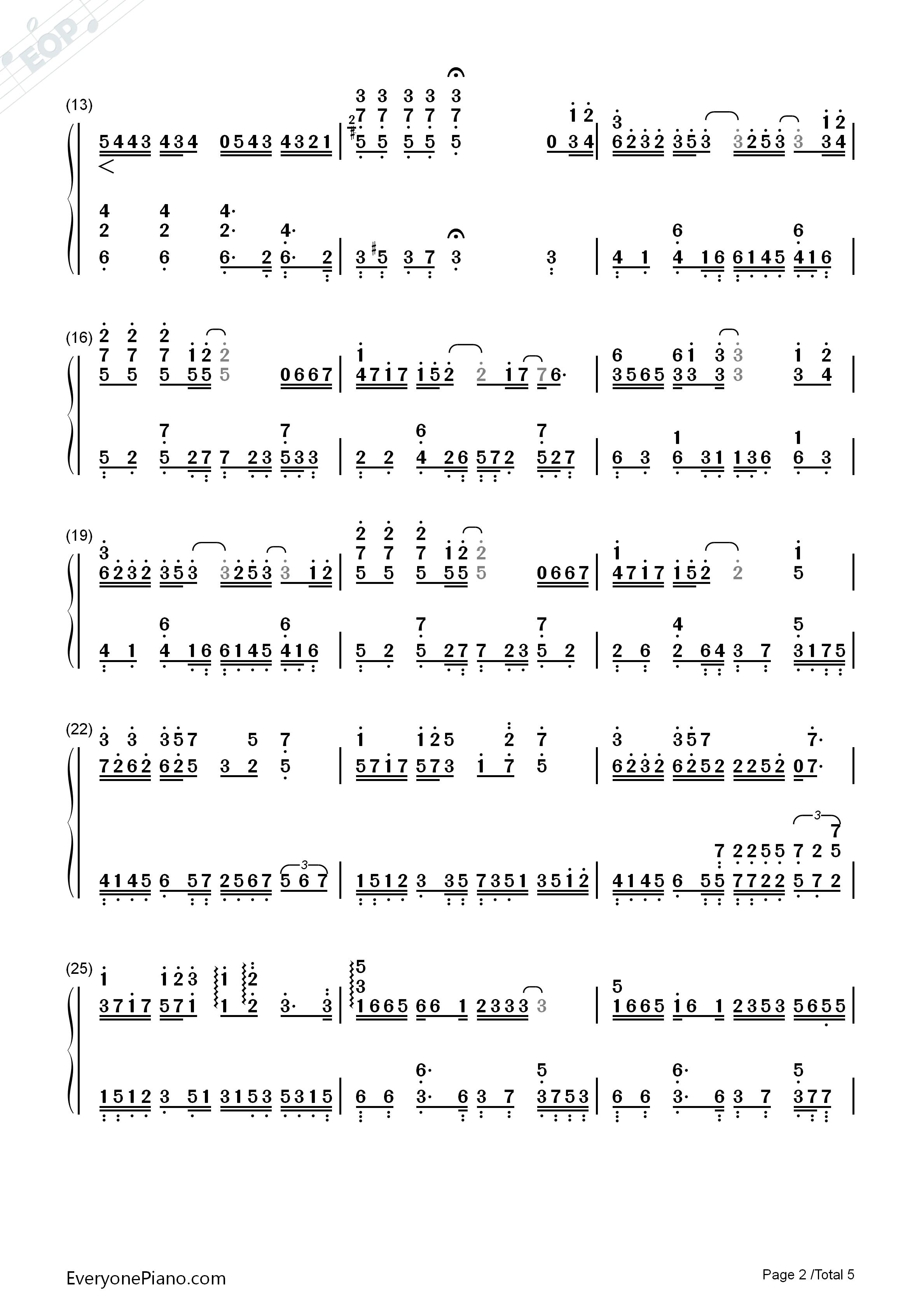 丑八怪-完整版双手简谱预览2-钢琴谱档(五线谱,双手