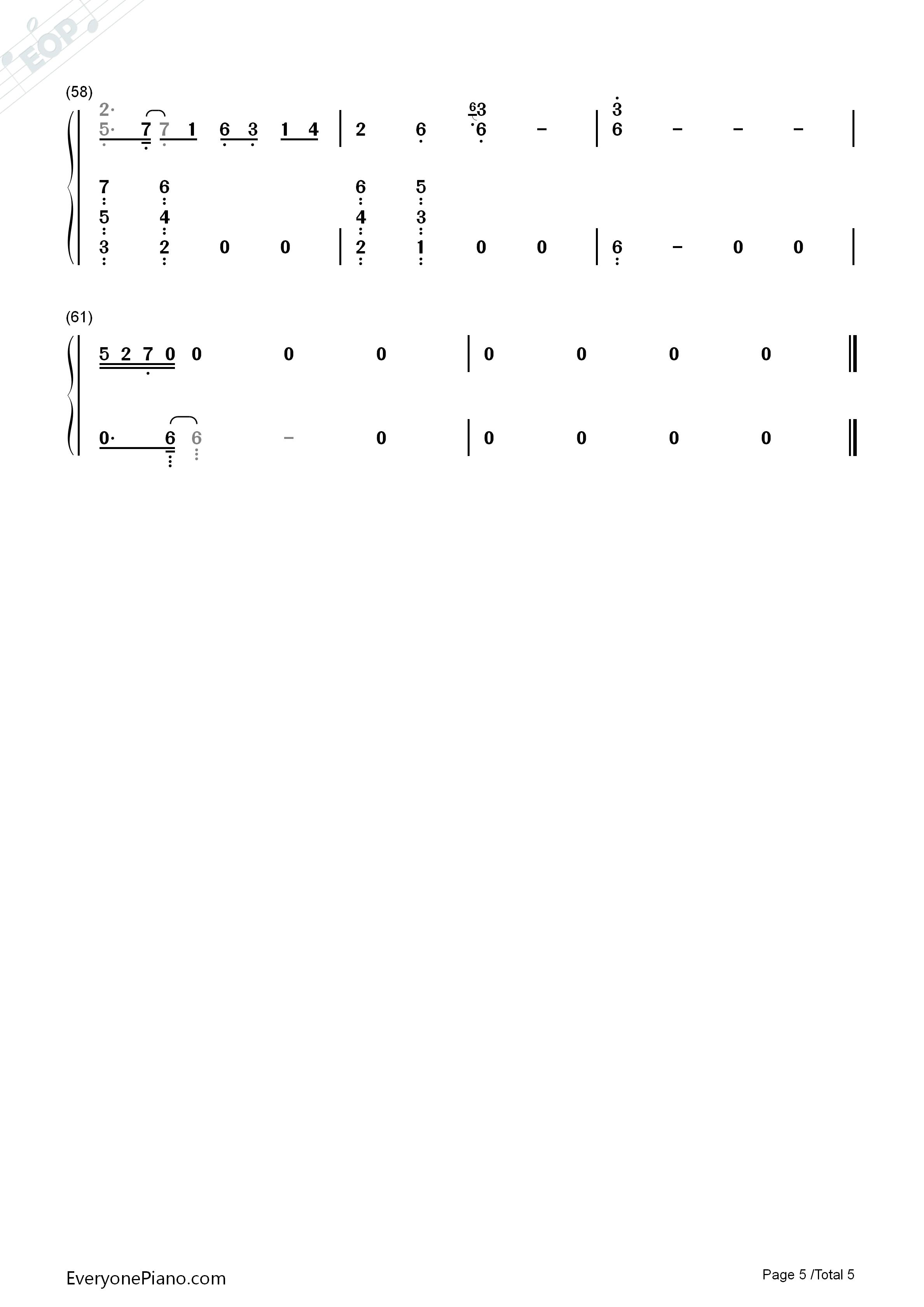丑八怪-完整版双手简谱预览