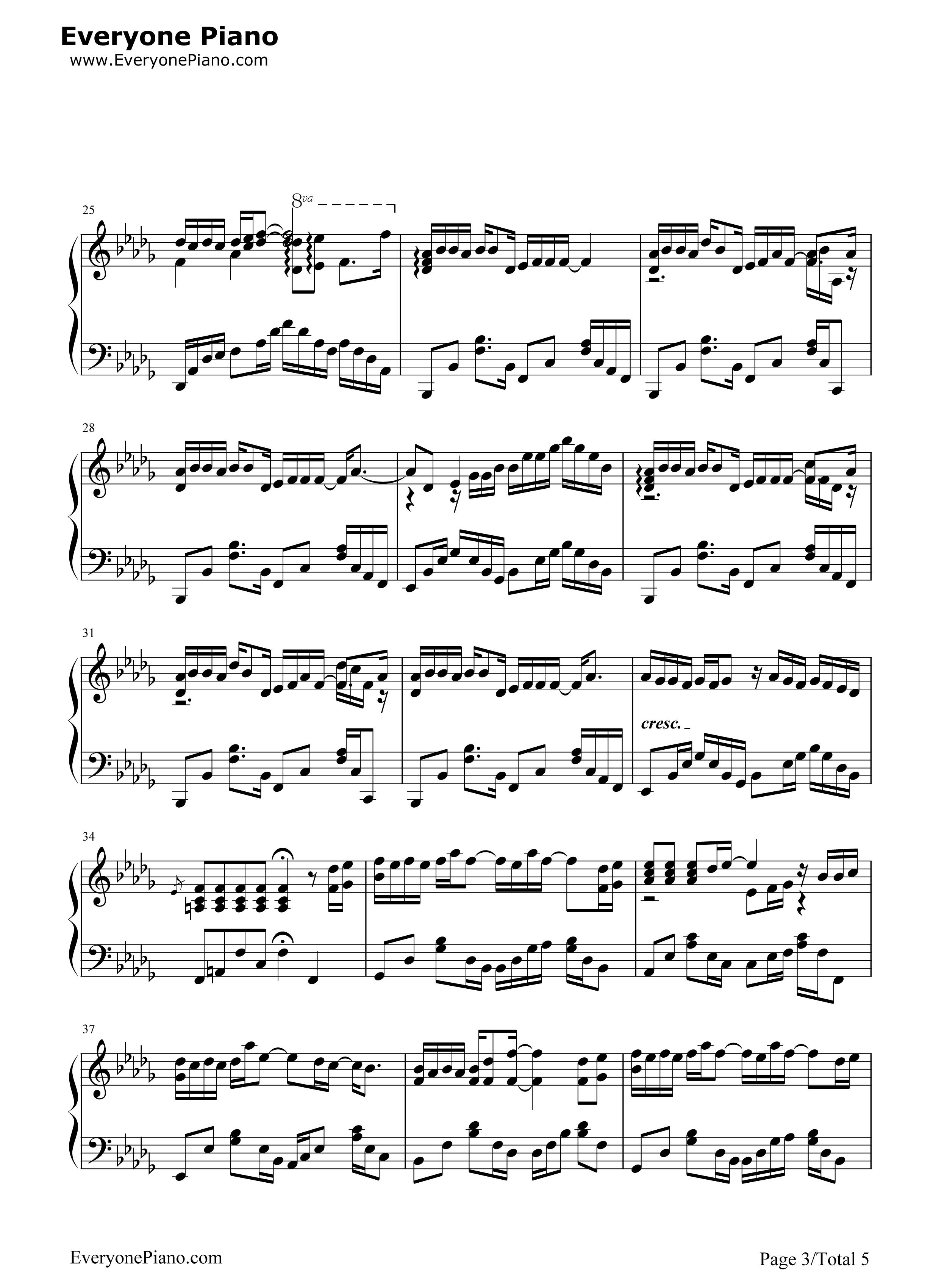丑八怪-完整版五线谱预览3-钢琴谱(五线谱,双手简谱)