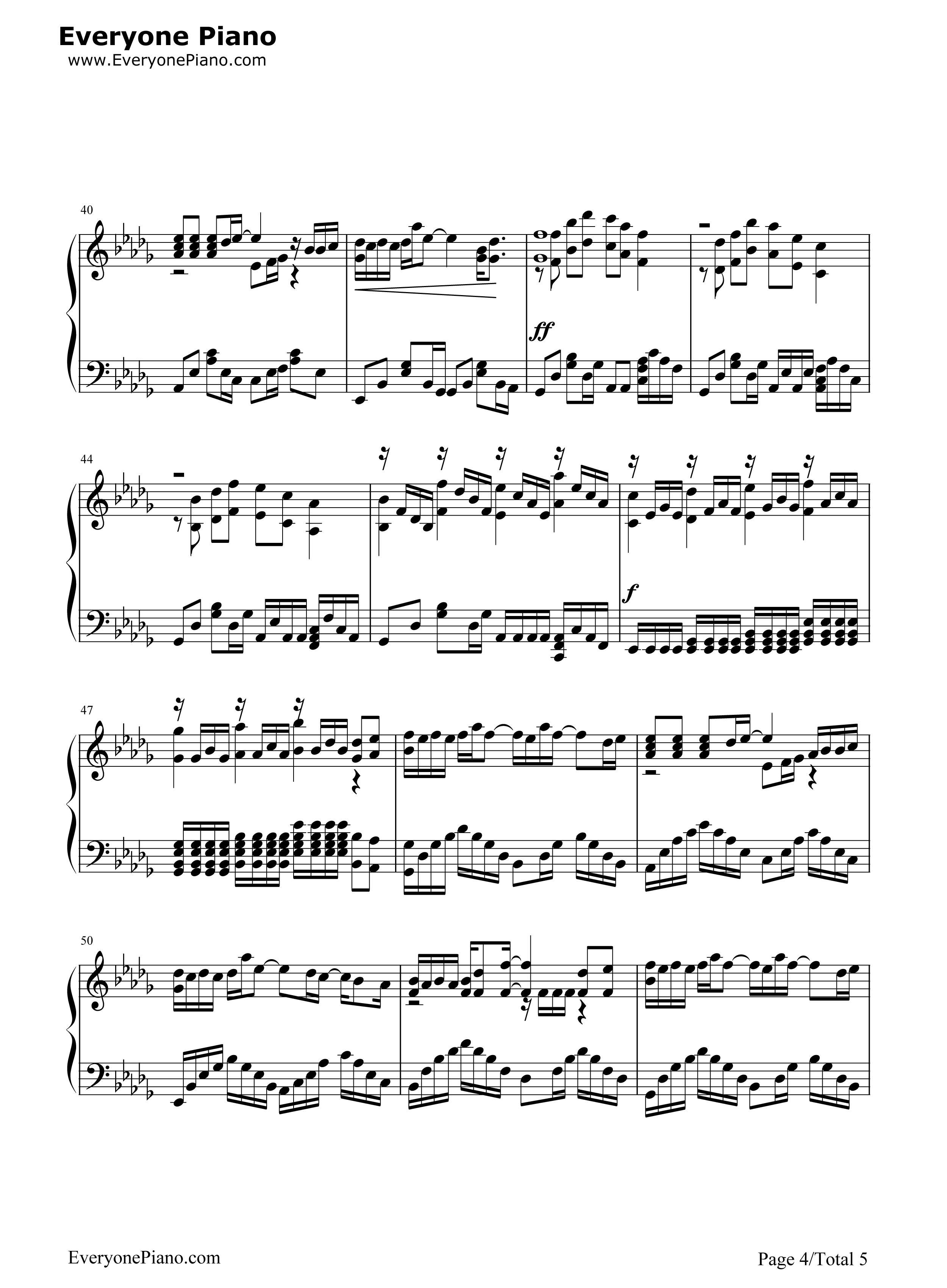 钢琴曲谱 流行 丑八怪-完整版 丑八怪-完整版五线谱预览4  }  仅供