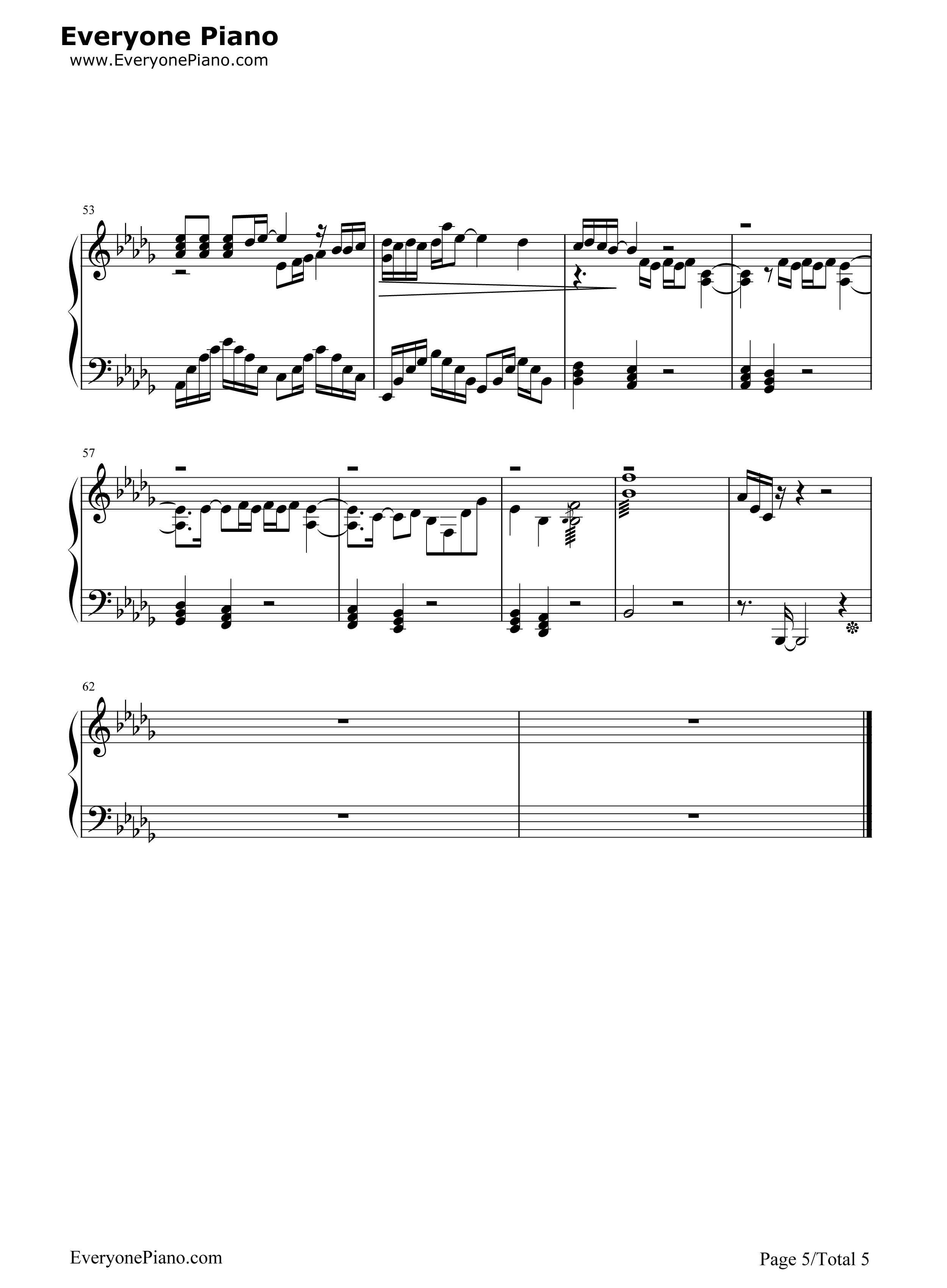 钢琴曲谱 流行 丑八怪-完整版 丑八怪-完整版五线谱预览5  }  仅供