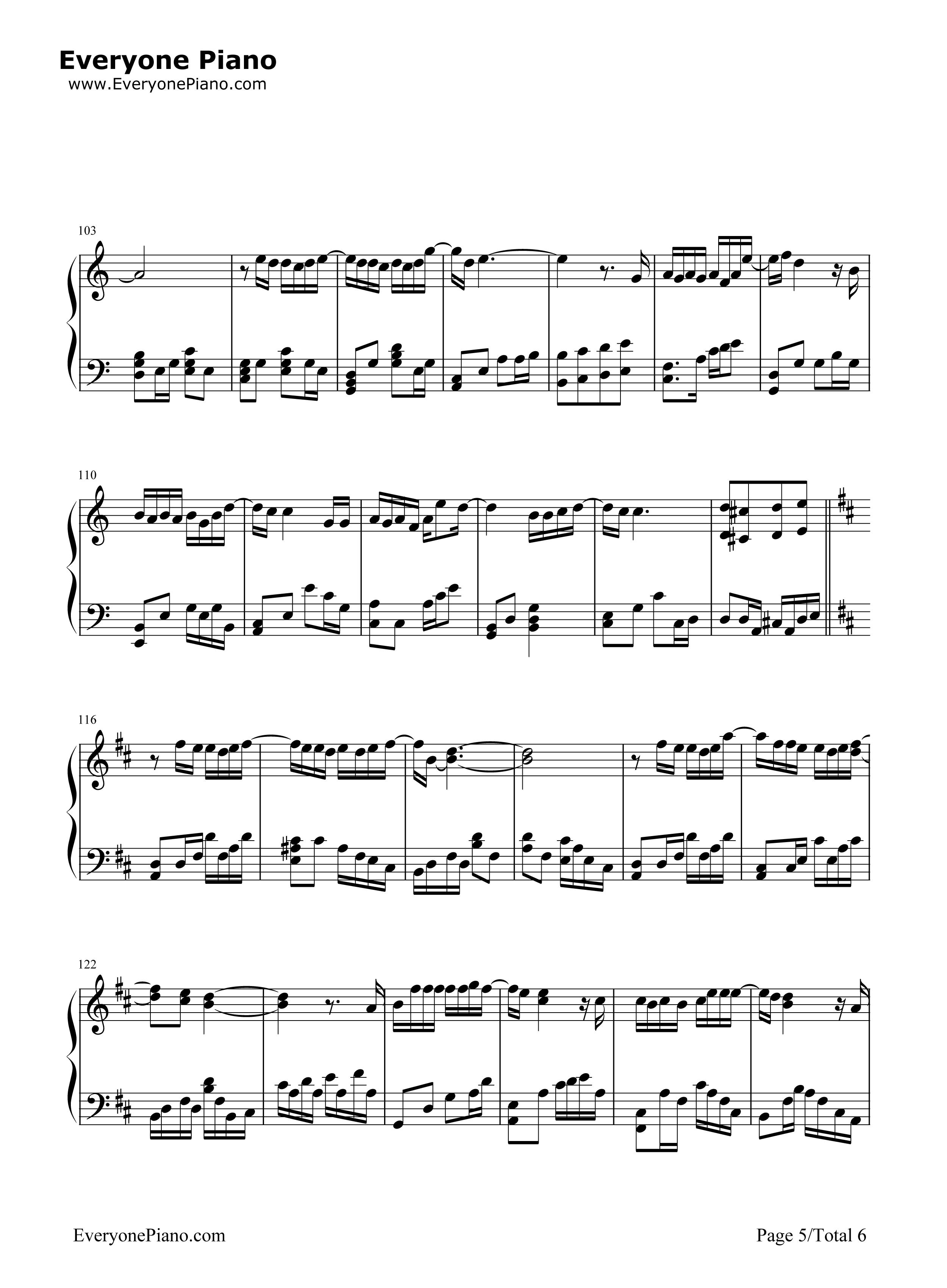 绅士 完整版五线谱预览5 钢琴谱 五线谱,双手简谱
