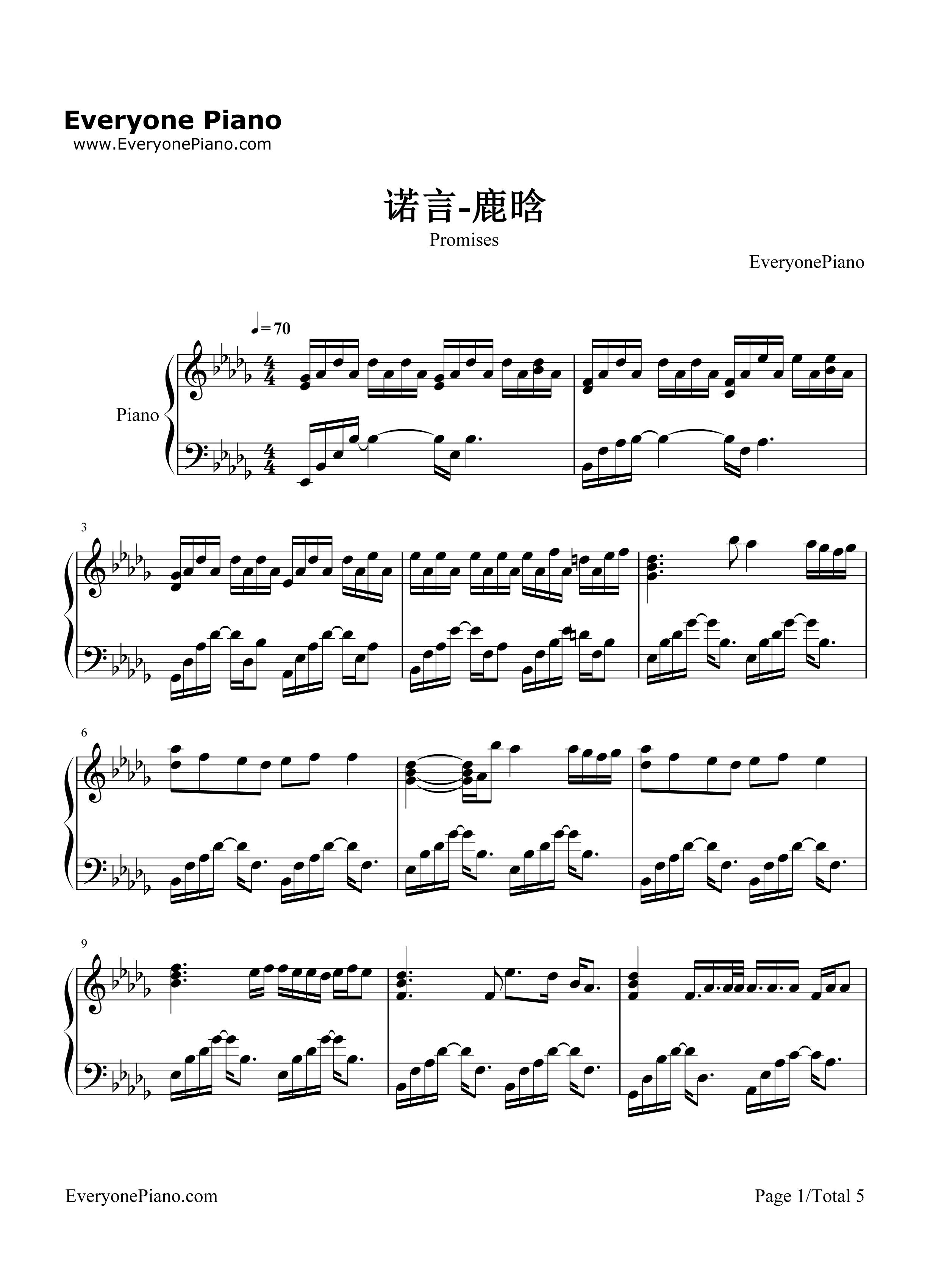 知更鸟钢琴曲谱子-五线谱预览2 钢琴谱 五线谱,双手简谱 免费