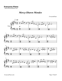 Mercy-Shawn Mendes五線譜預覽1