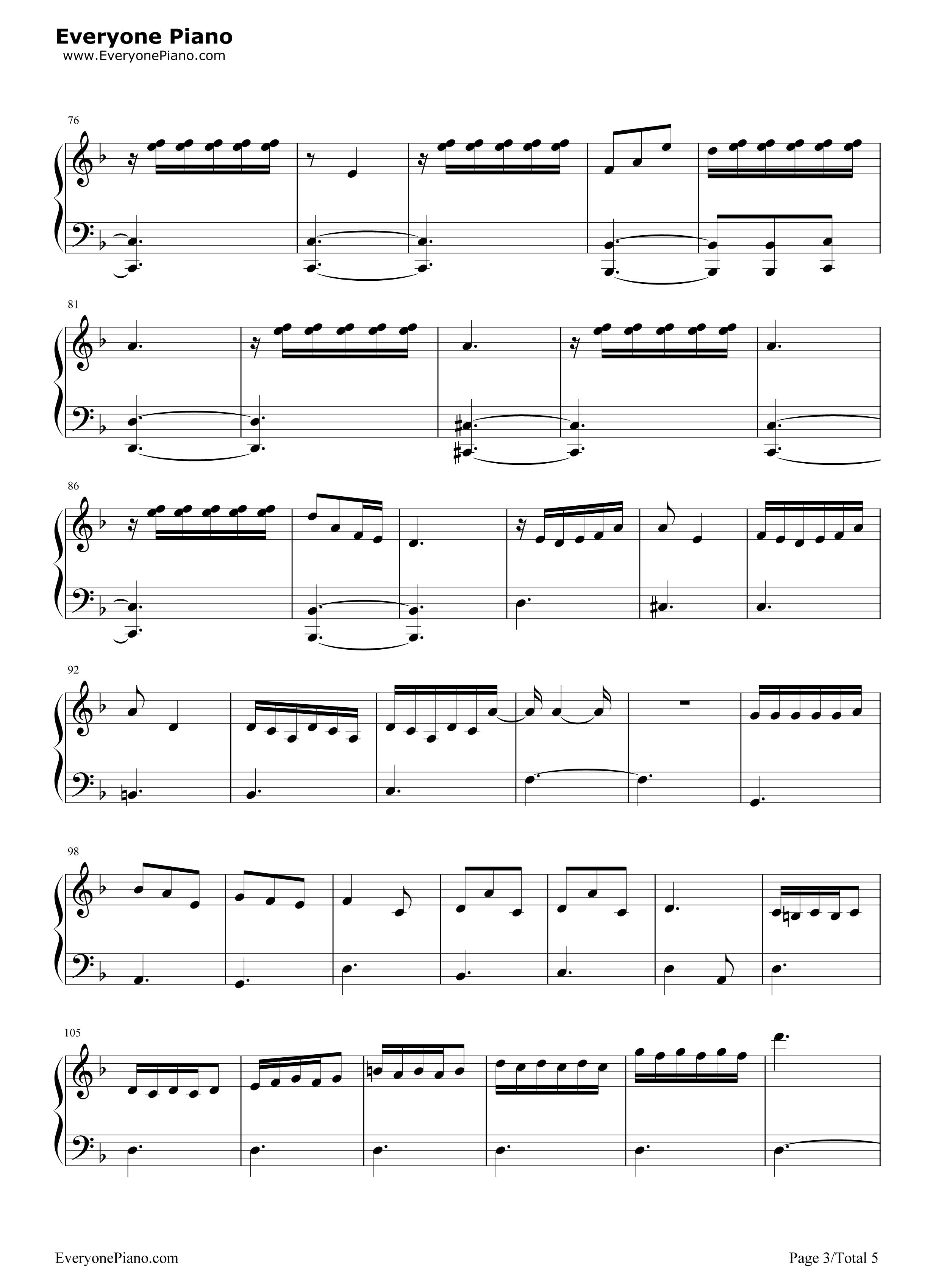 动物世界-薛之谦五线谱预览3-钢琴谱(五线谱,双手简谱