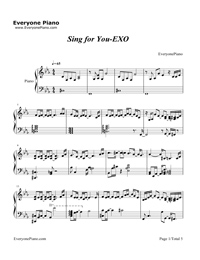 Sing for You-EXO五線譜預覽1