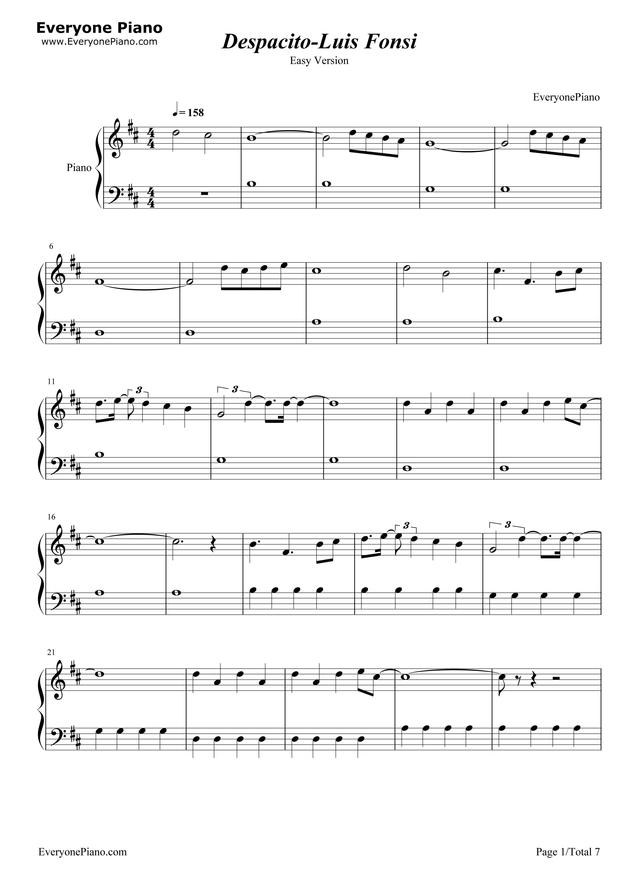 despacito简单版-luis fonsi五线谱预览1-钢琴谱(,)