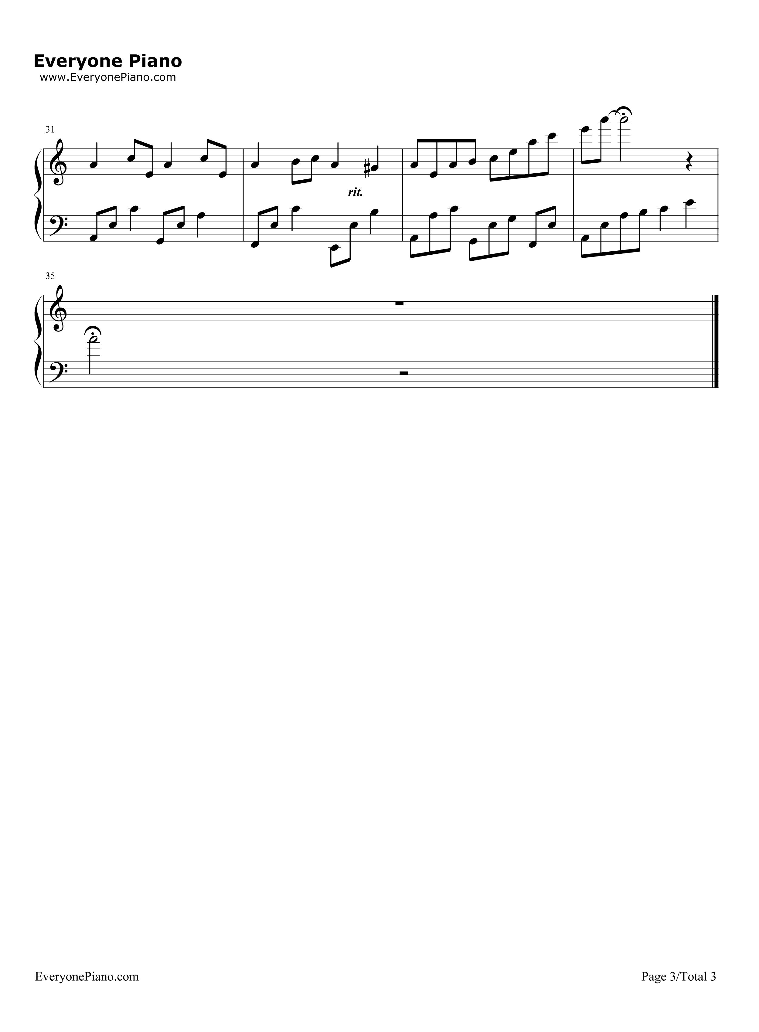 消失の音符五线谱预览3