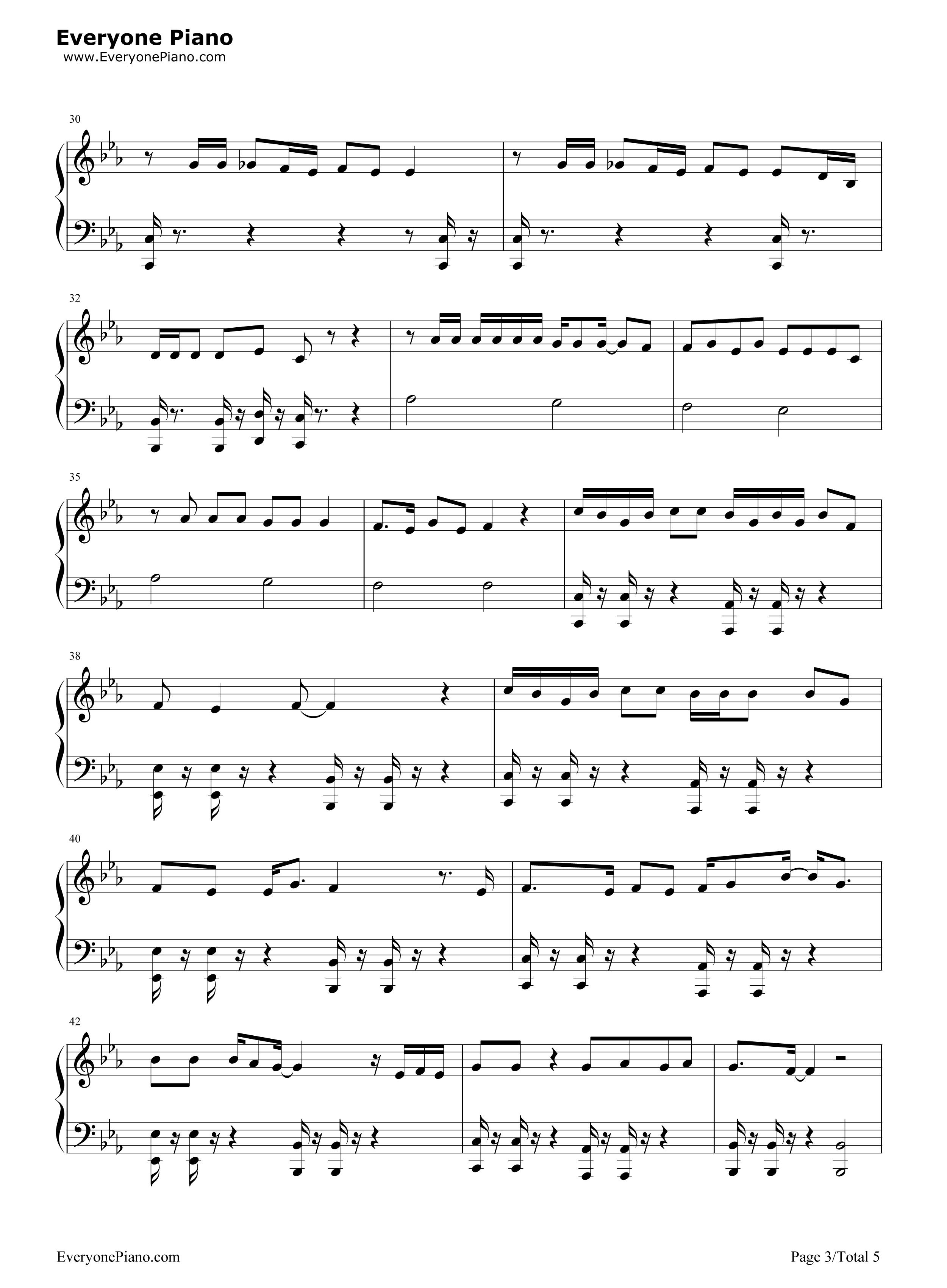 啷个哩个啷-鹏泊五线谱预览3-钢琴谱档(五线谱,双手