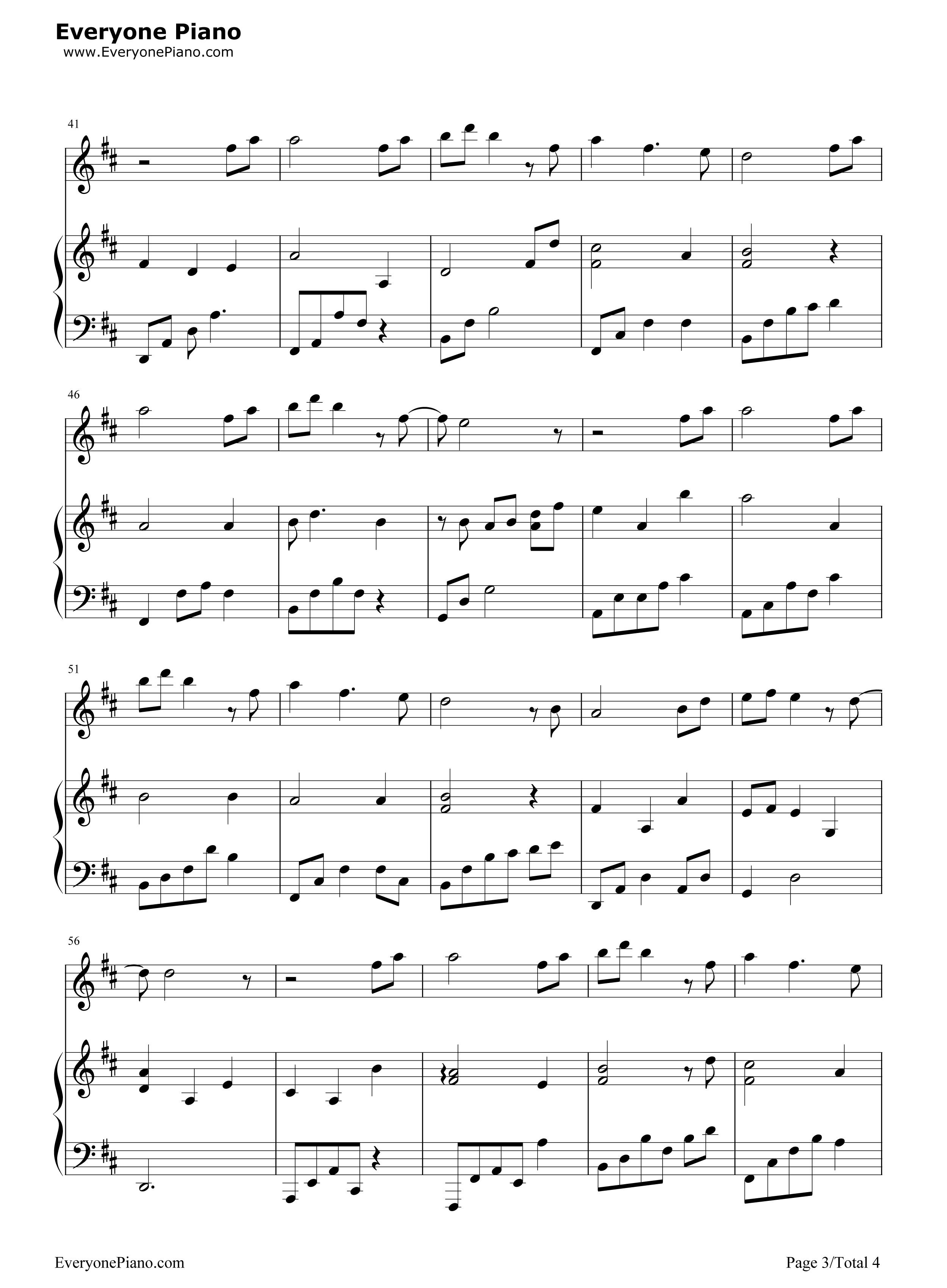 钢琴曲谱 流行 天之大 天之大五线谱预览3  }  仅供学习交流使用!