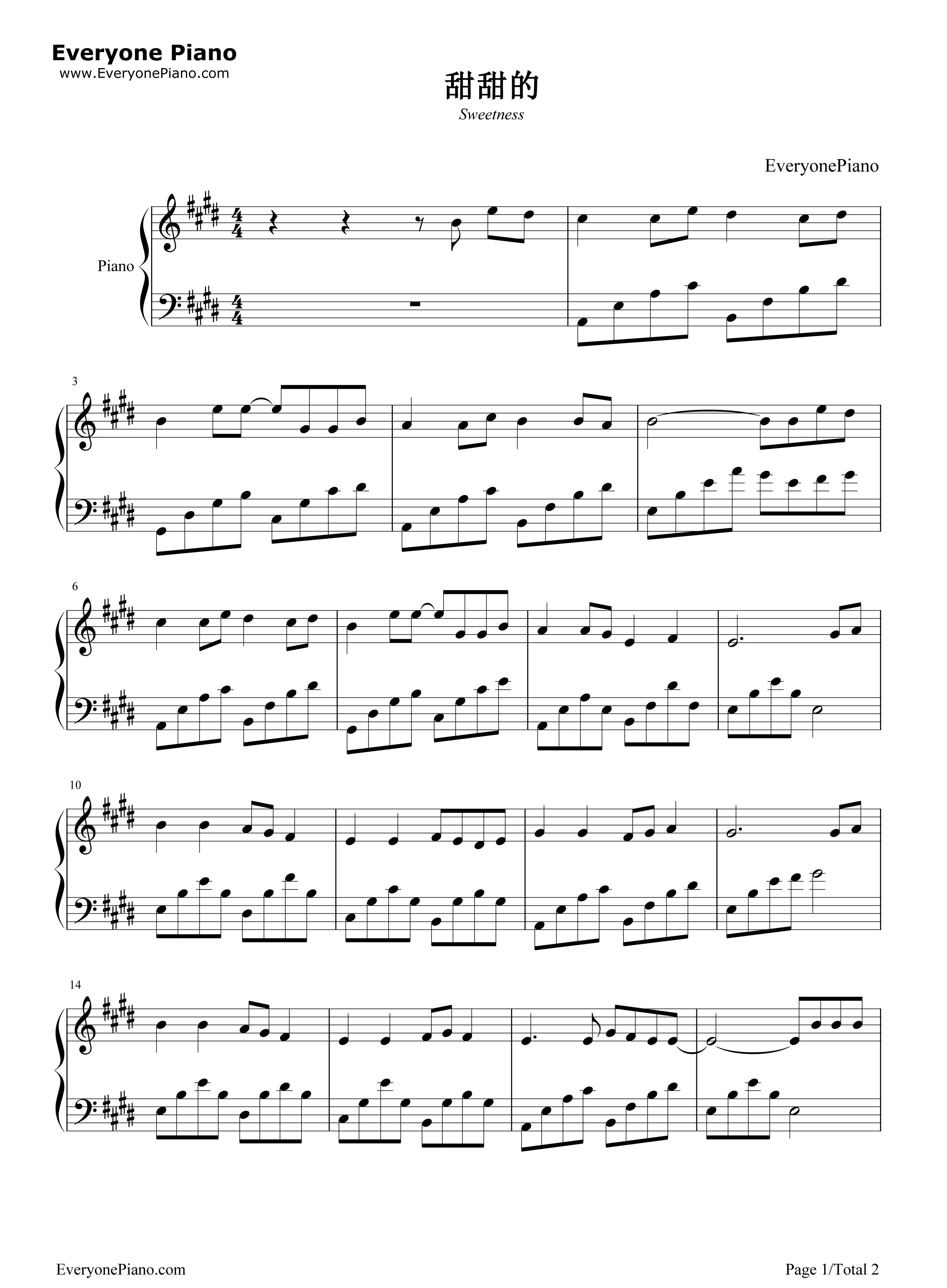 甜甜的-周杰伦五线谱预览1-钢琴谱(五线谱,双手简谱)图片