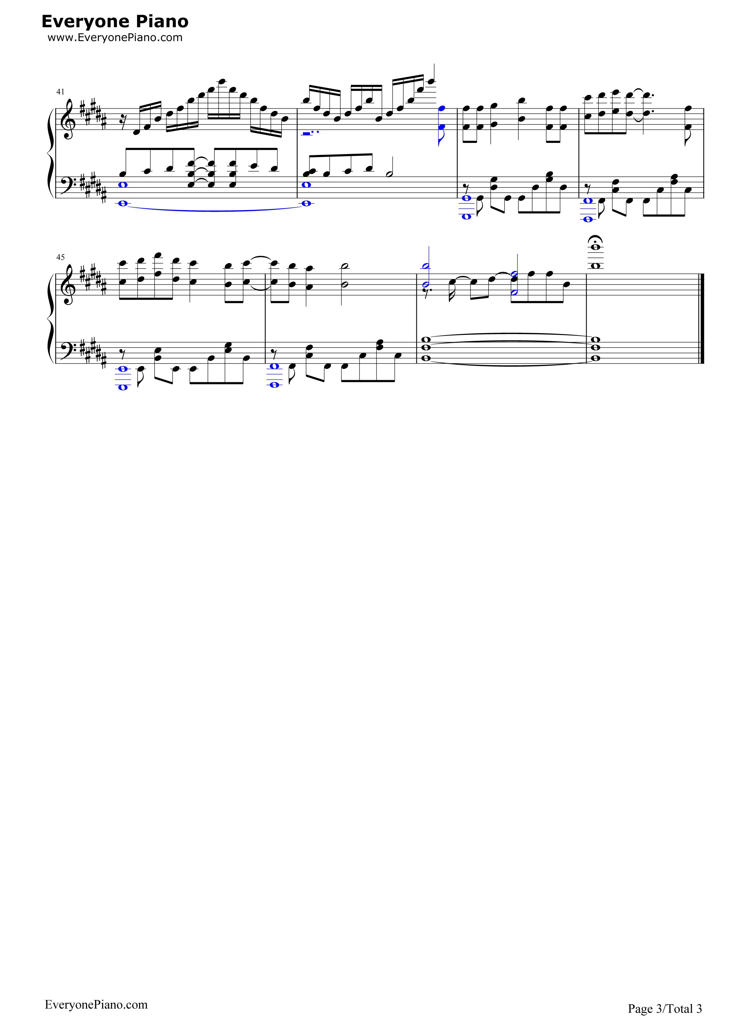 钢琴曲谱 动漫 go-碧蓝幻想op go-碧蓝幻想op五线谱预览3  }  仅供