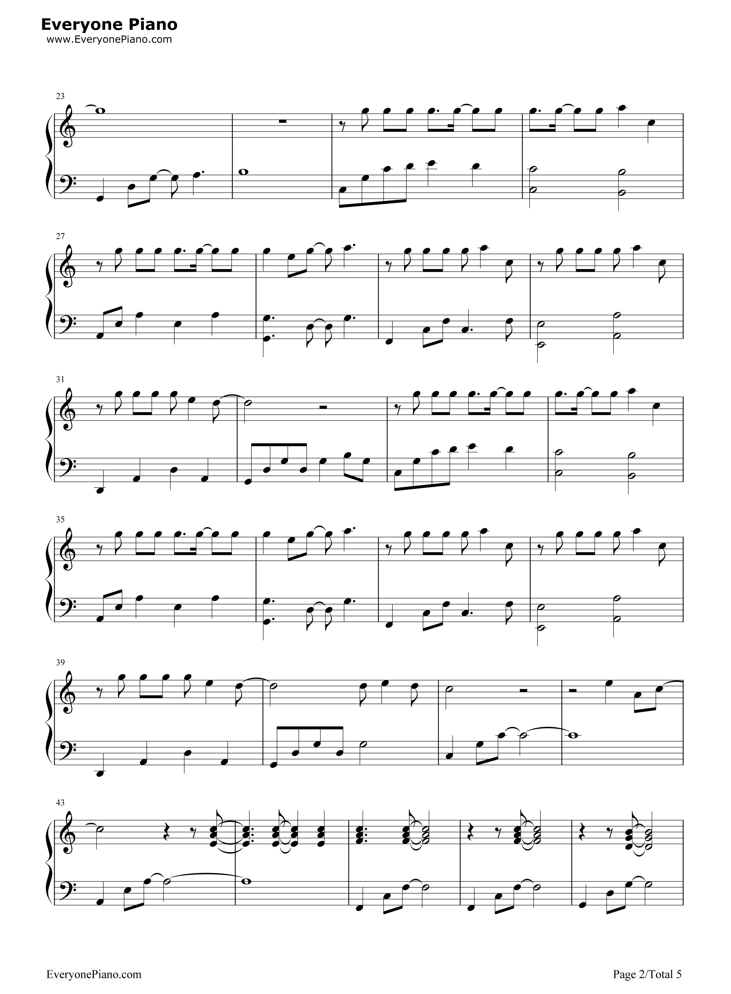 钢琴曲谱 流行 我变了-李宇春 我变了-李宇春五线谱预览2