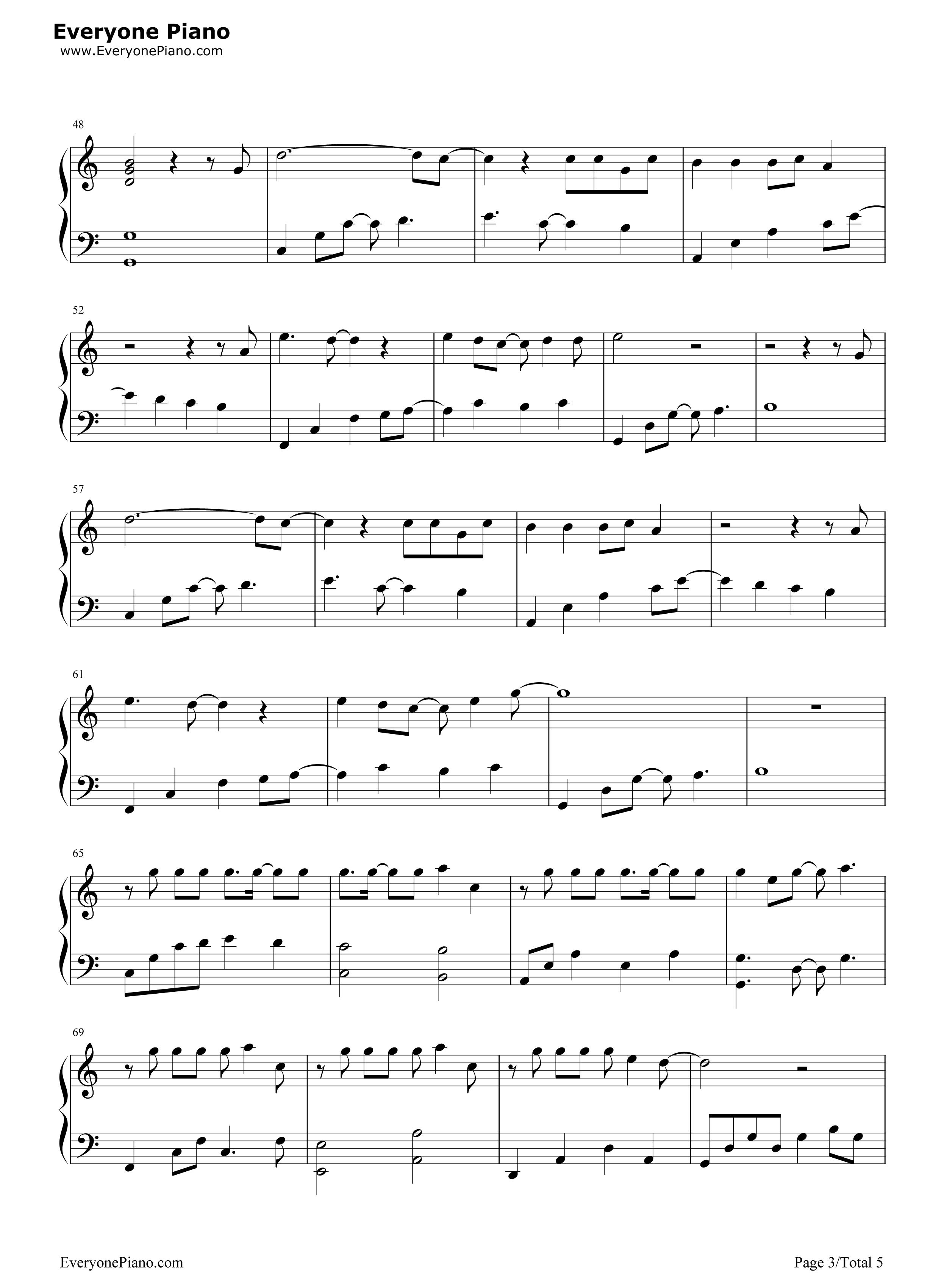 钢琴曲谱 流行 我变了-李宇春 我变了-李宇春五线谱预览3