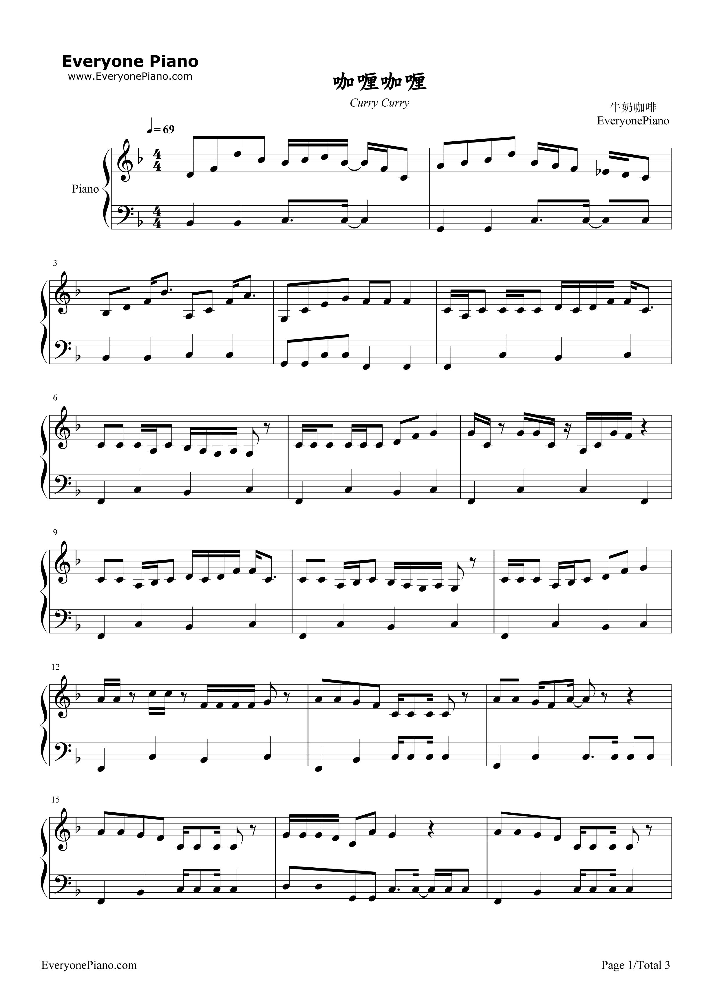 咖喱咖喱-欢乐颂2插曲五线谱预览1-钢琴谱档(五线谱图片