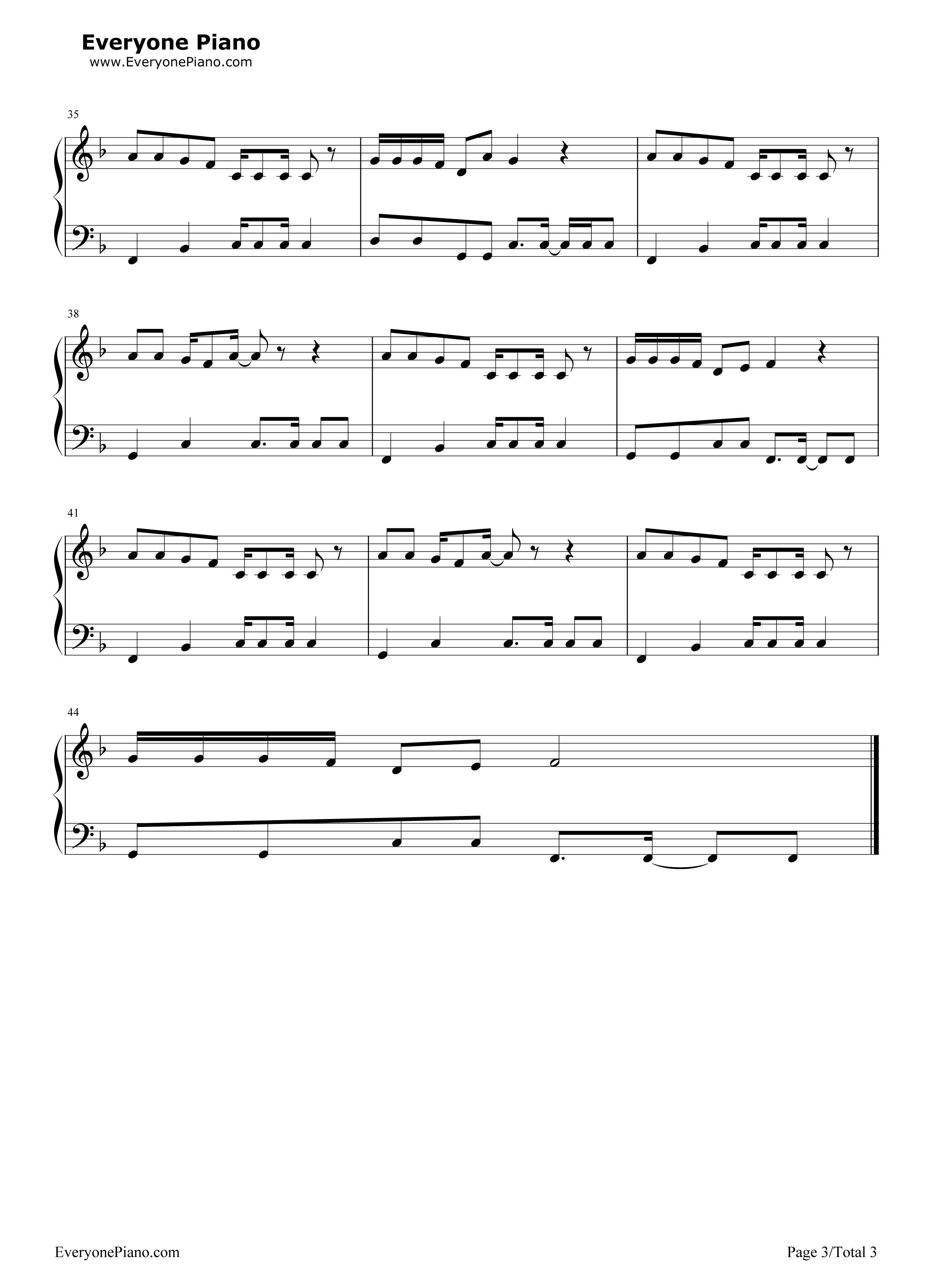 咖喱咖喱-欢乐颂2插曲五线谱预览3