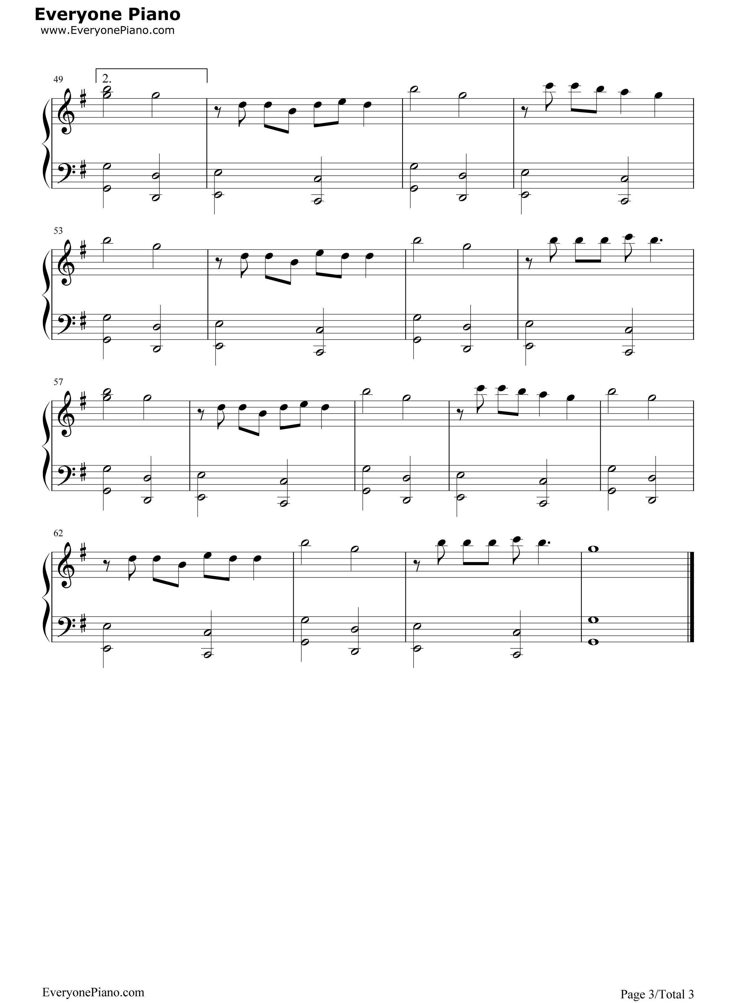 总有幸福在等你-欢乐颂片尾曲五线谱预览3-钢琴谱(,)