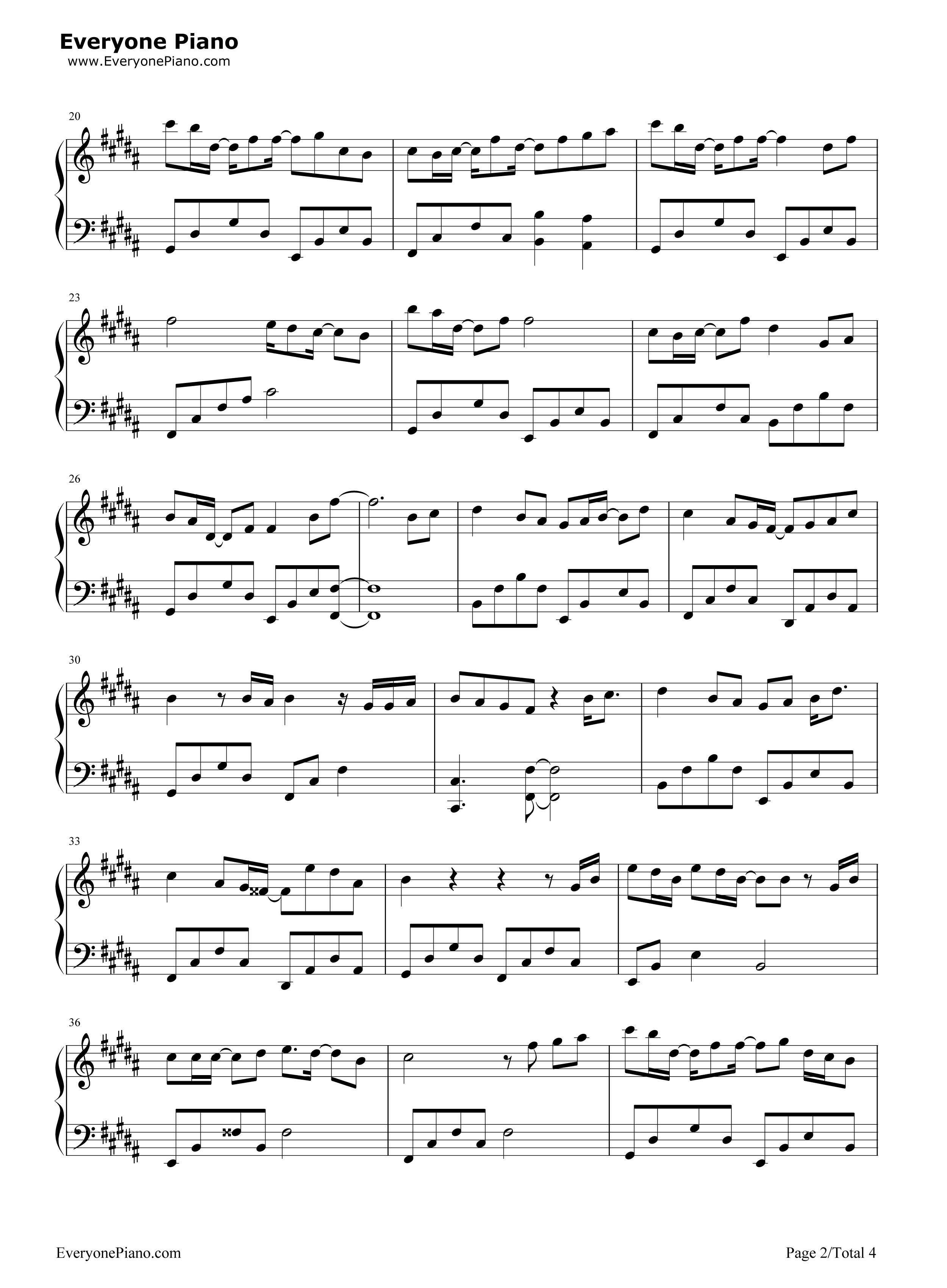 钢琴曲谱 影视 追光者-夏至未至插曲 追光者-夏至未至插曲五线谱预览2