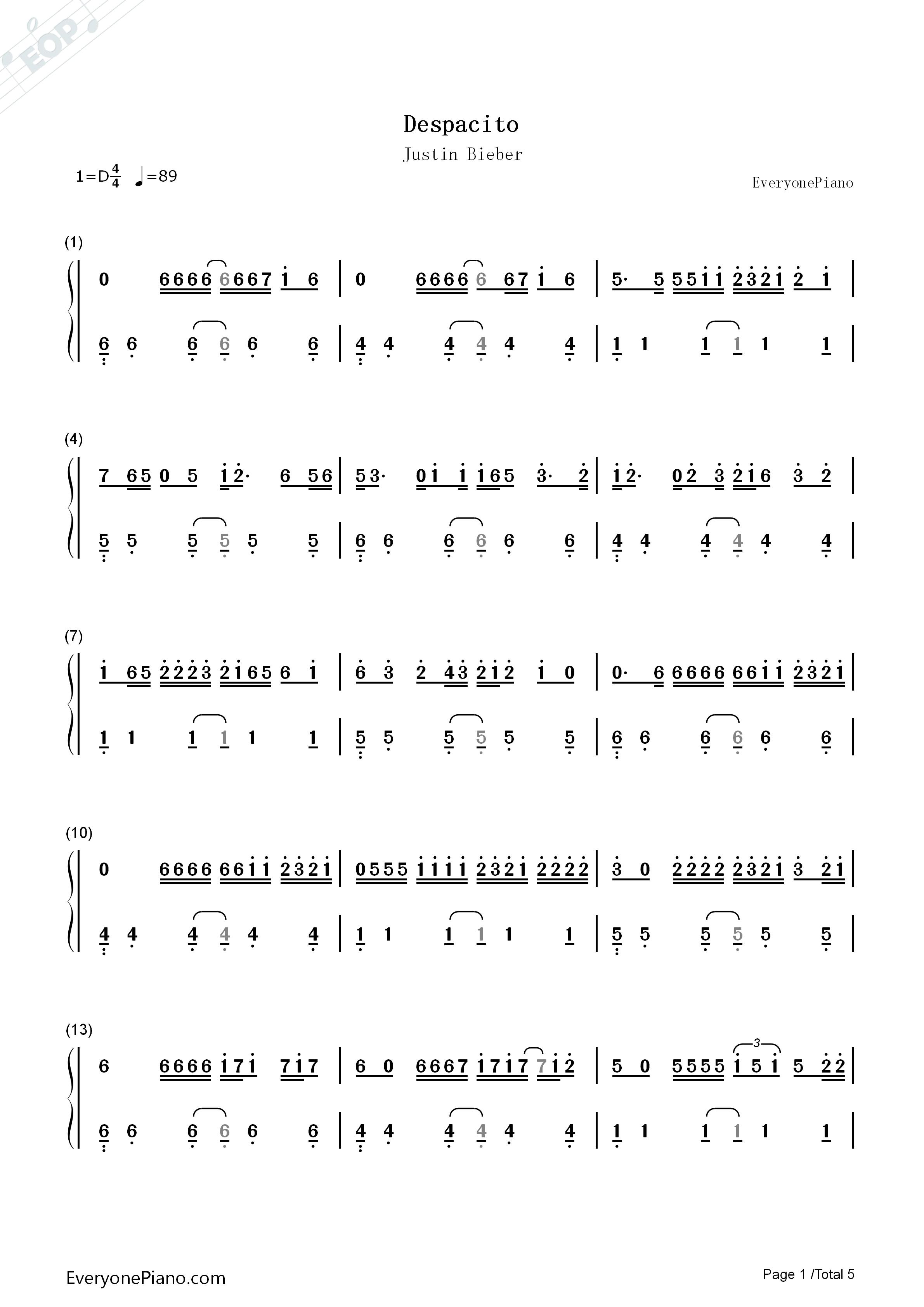despacito-justin bieber双手简谱预览