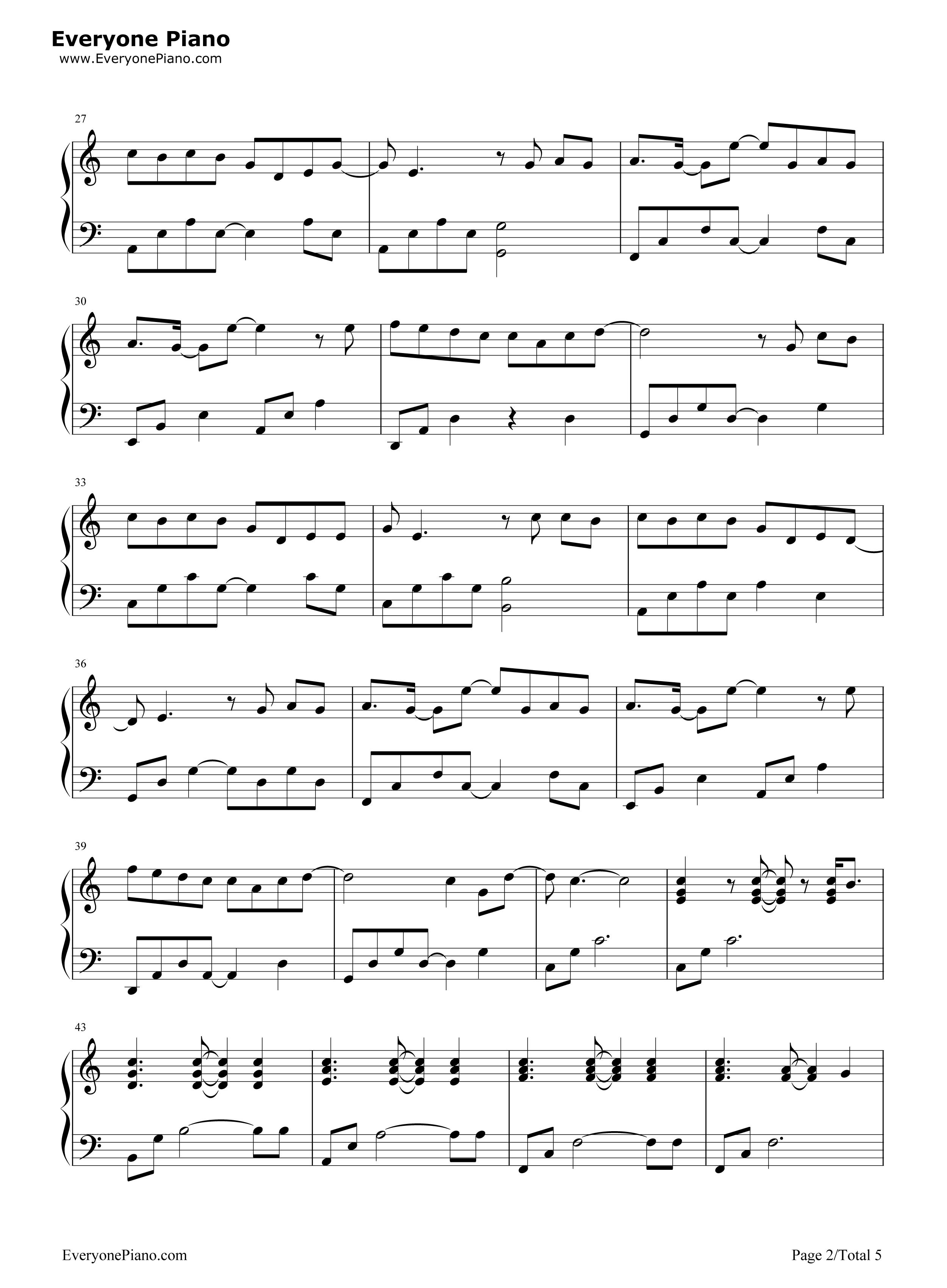 等我回家-薛之谦五线谱预览2-钢琴谱(五线谱,双手简谱