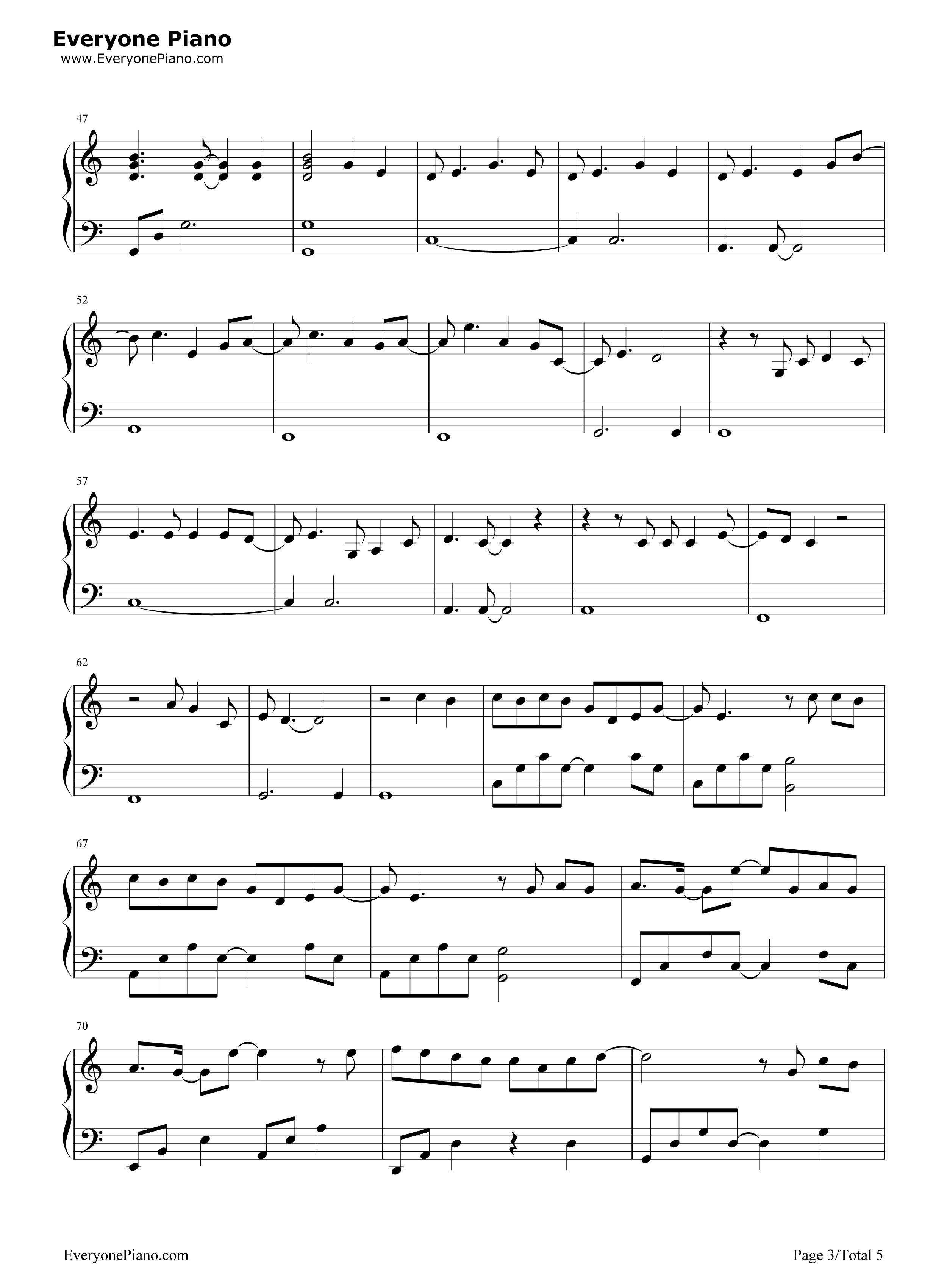 等我回家-薛之谦五线谱预览3-钢琴谱(五线谱,双手简谱