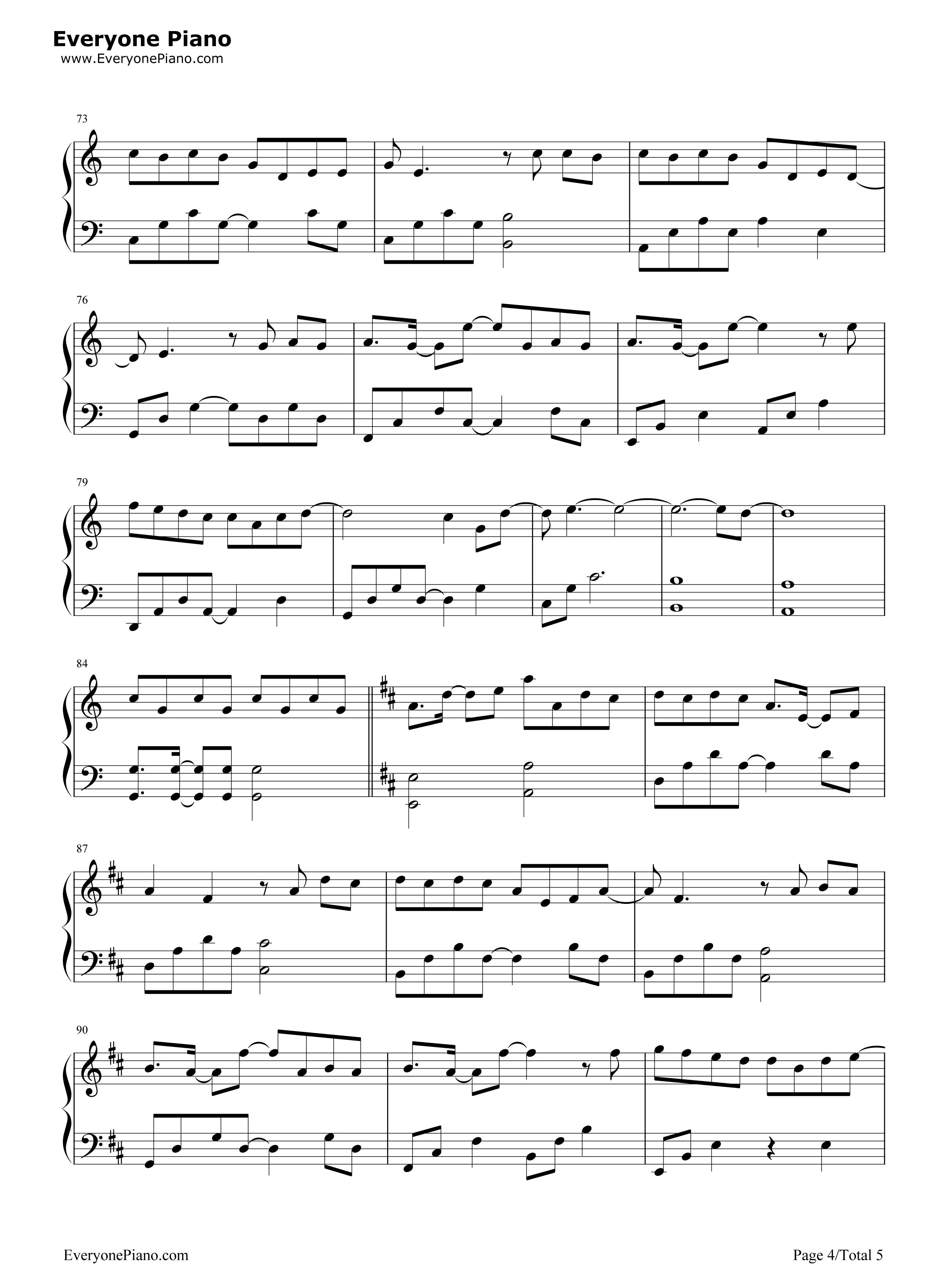 等我回家-薛之谦五线谱预览4-钢琴谱(五线谱,双手简谱
