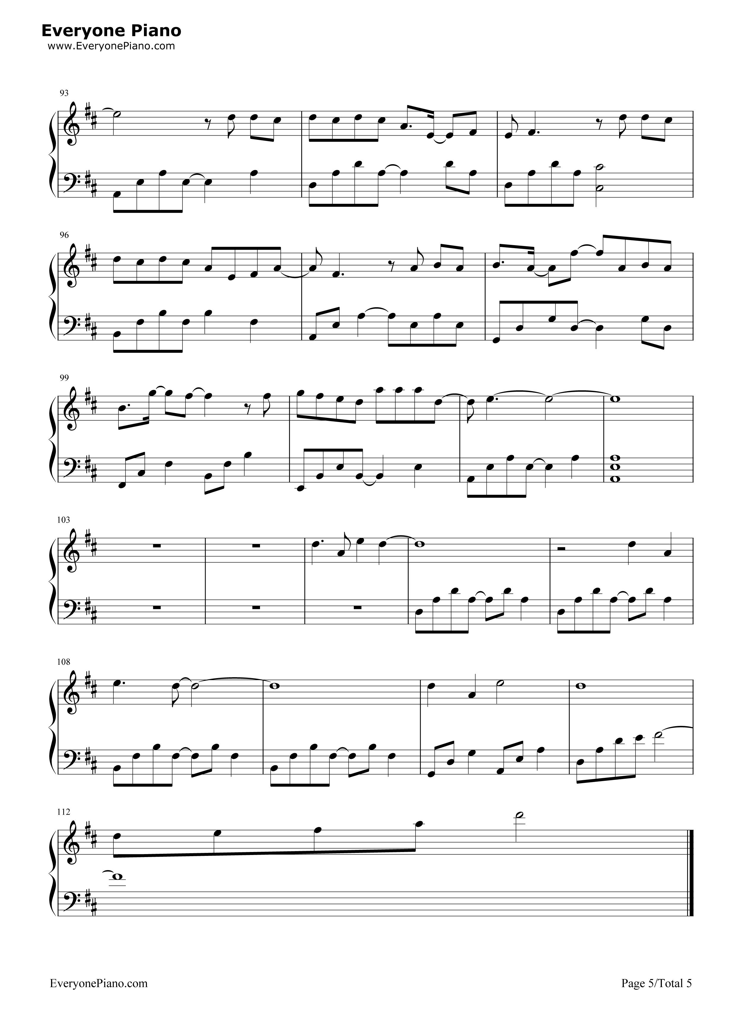 等我回家-薛之谦五线谱预览5-钢琴谱(五线谱,双手简谱