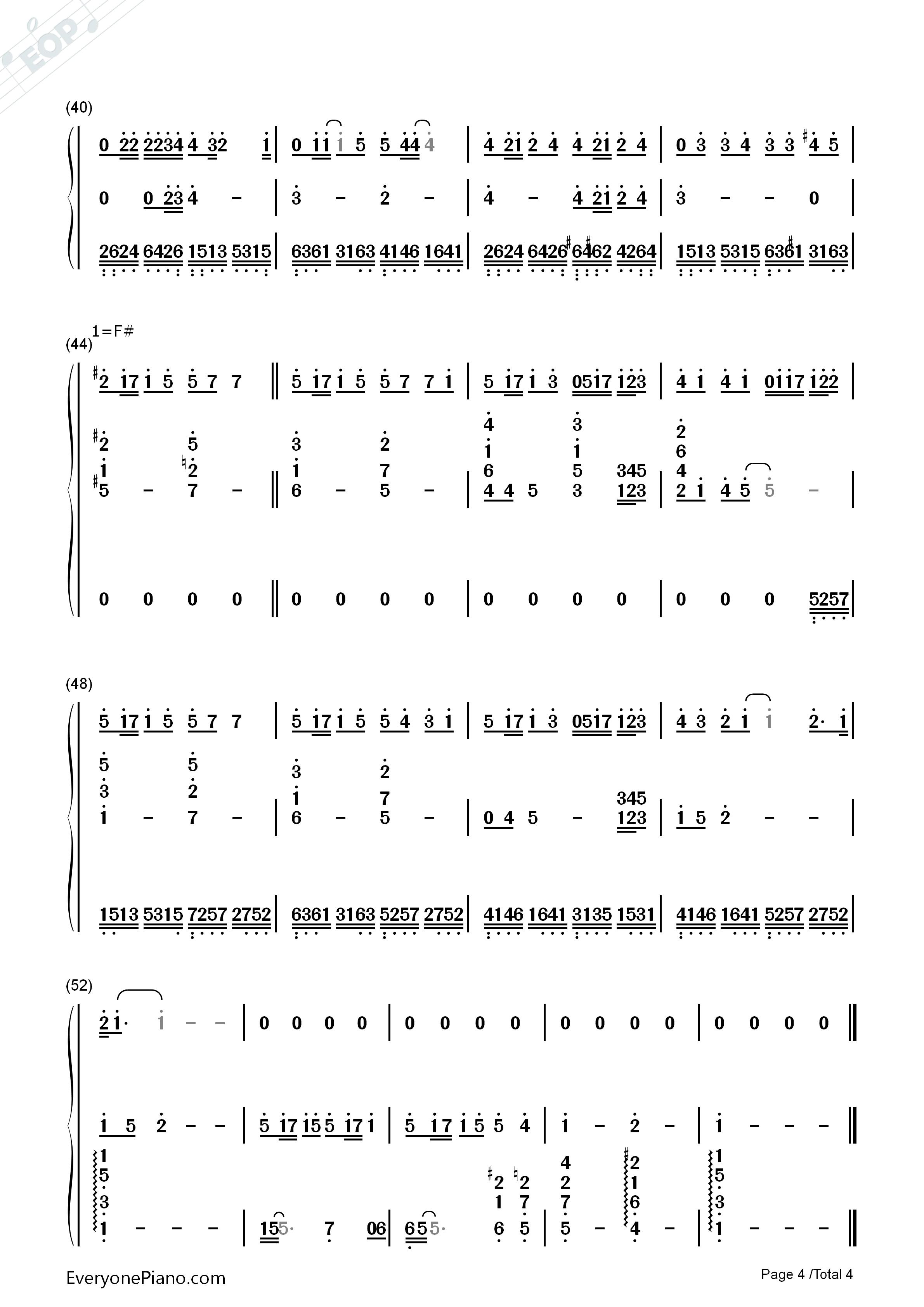 钢琴曲谱 流行 当你-林俊杰 当你-林俊杰双手简谱预览4  }  仅供学习