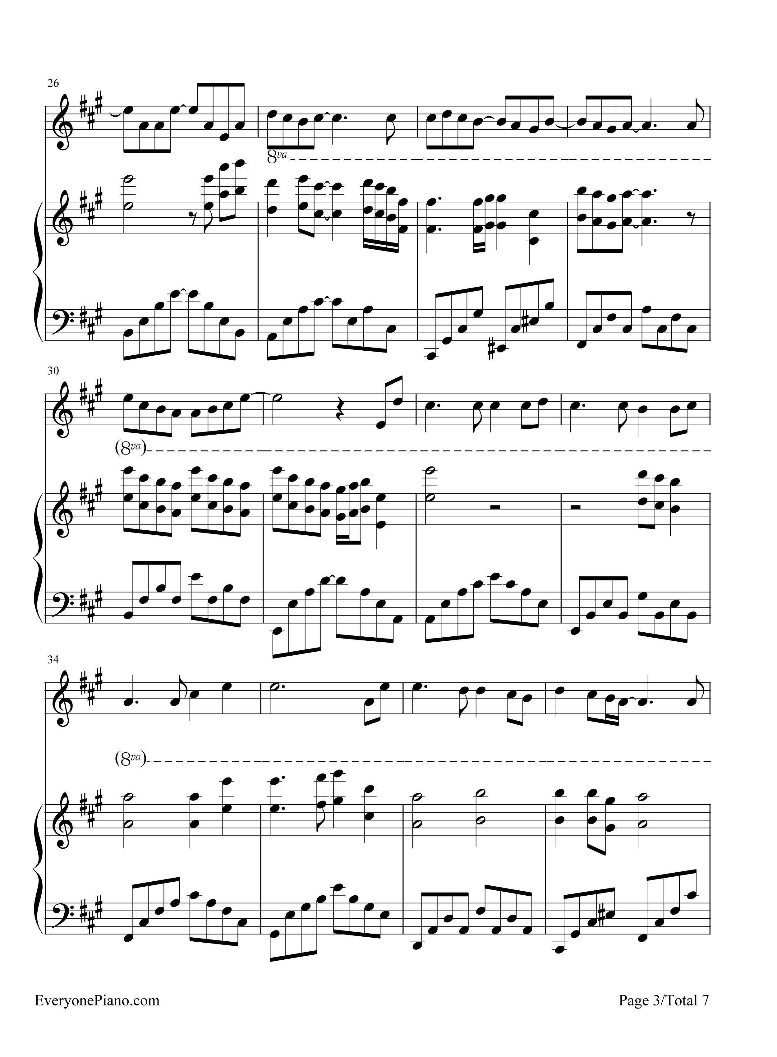 轨迹-周杰伦五线谱预览3-钢琴谱档(五线谱,双手简谱