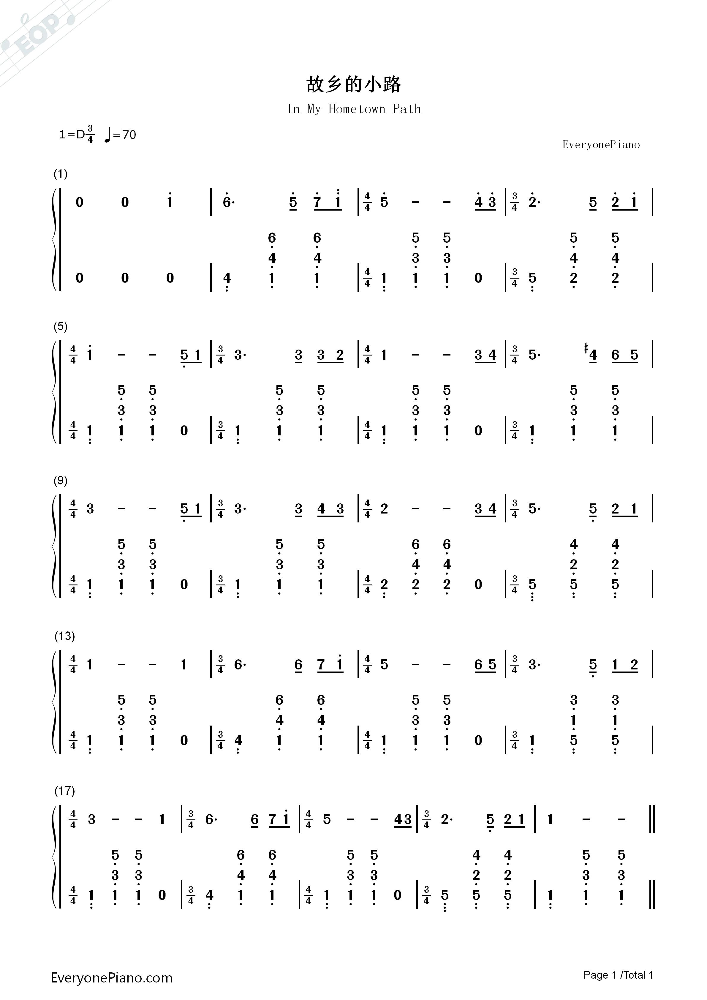故鄉的小路-崔蕾雙手簡譜預覽1