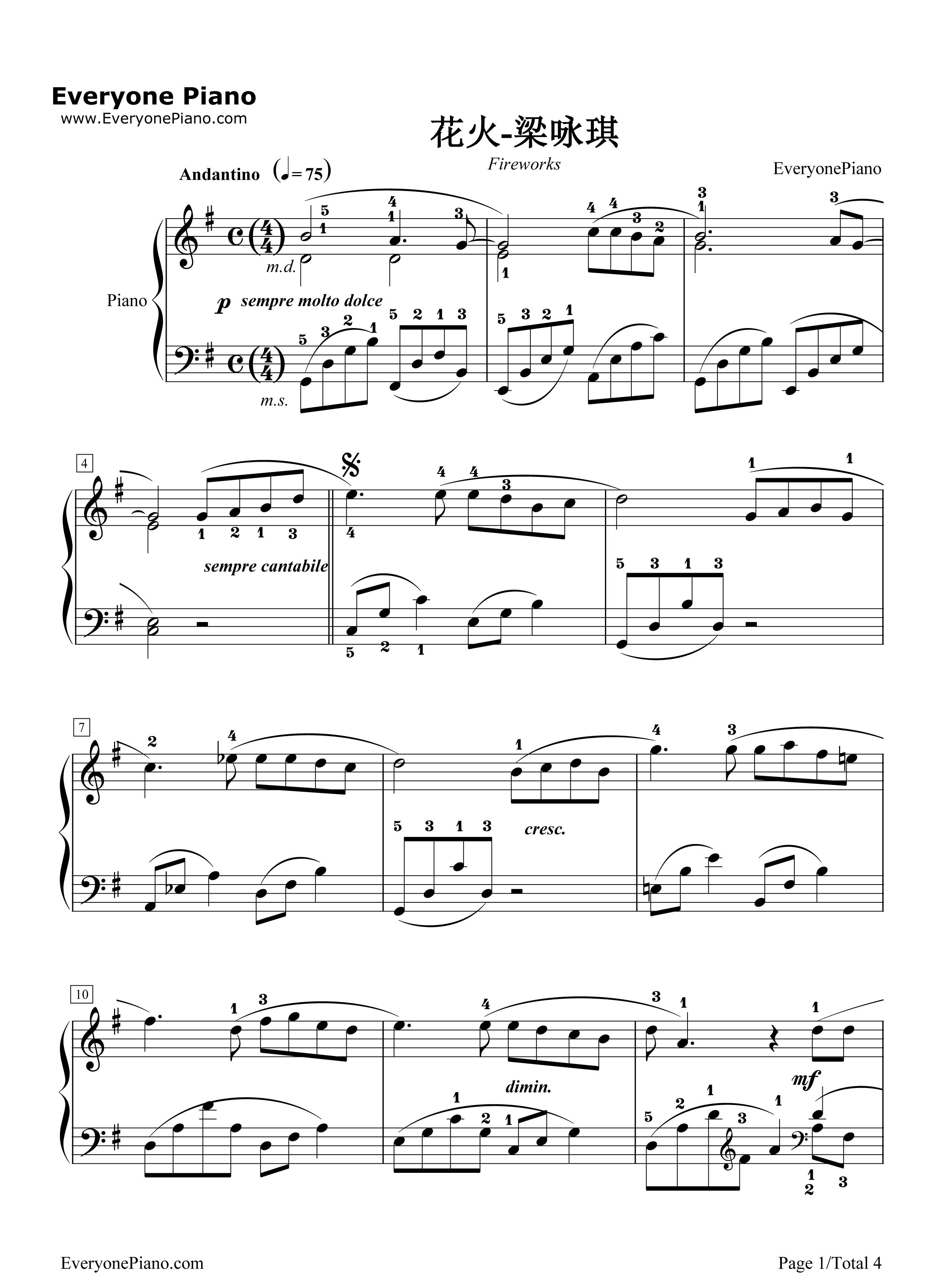 花火-梁咏琪五线谱预览1-钢琴谱档(五线谱,双手简谱