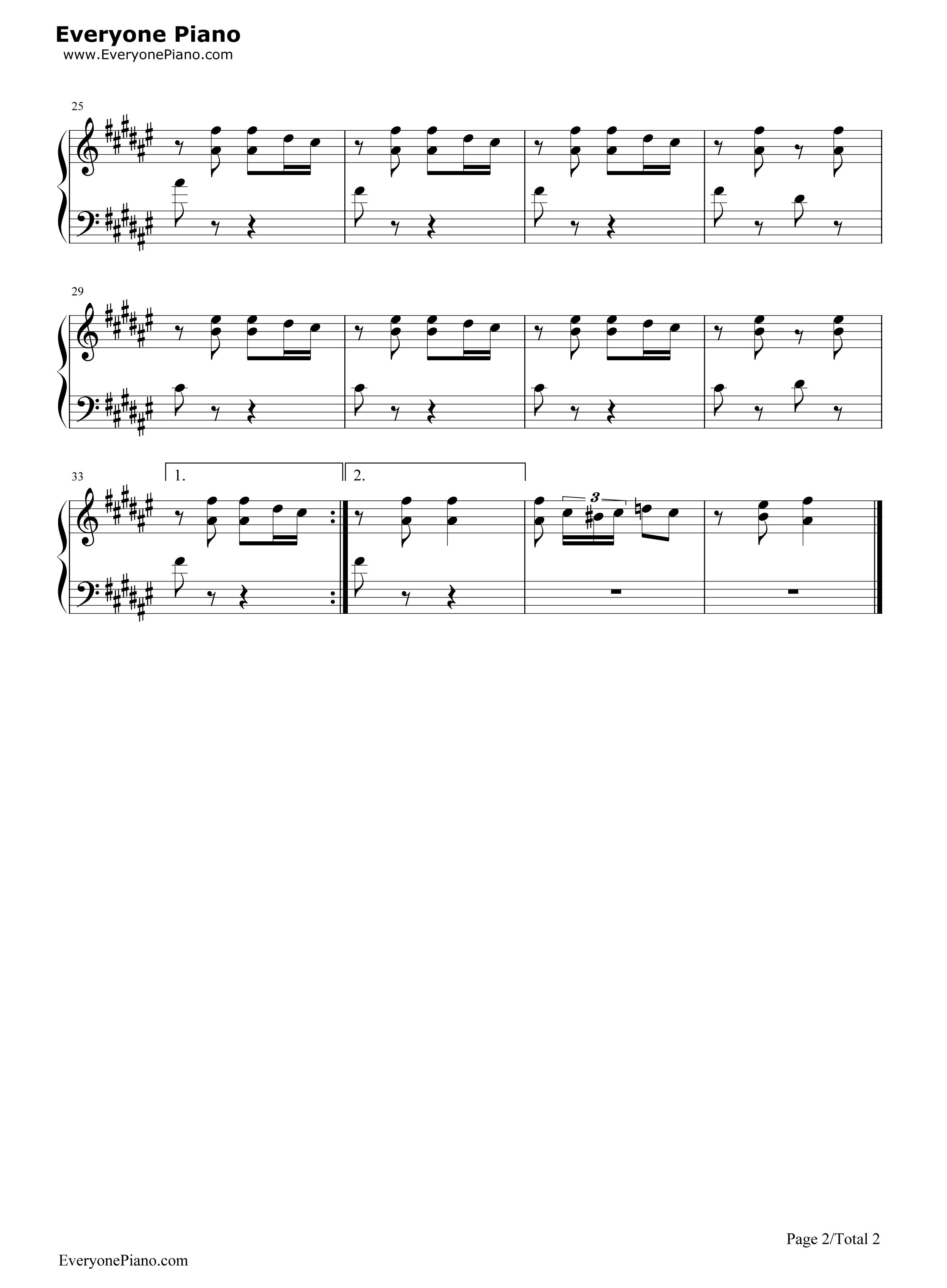 钢琴曲谱 练习曲 踩到猫儿-拜厄练习曲八 踩到猫儿-拜厄练习曲八