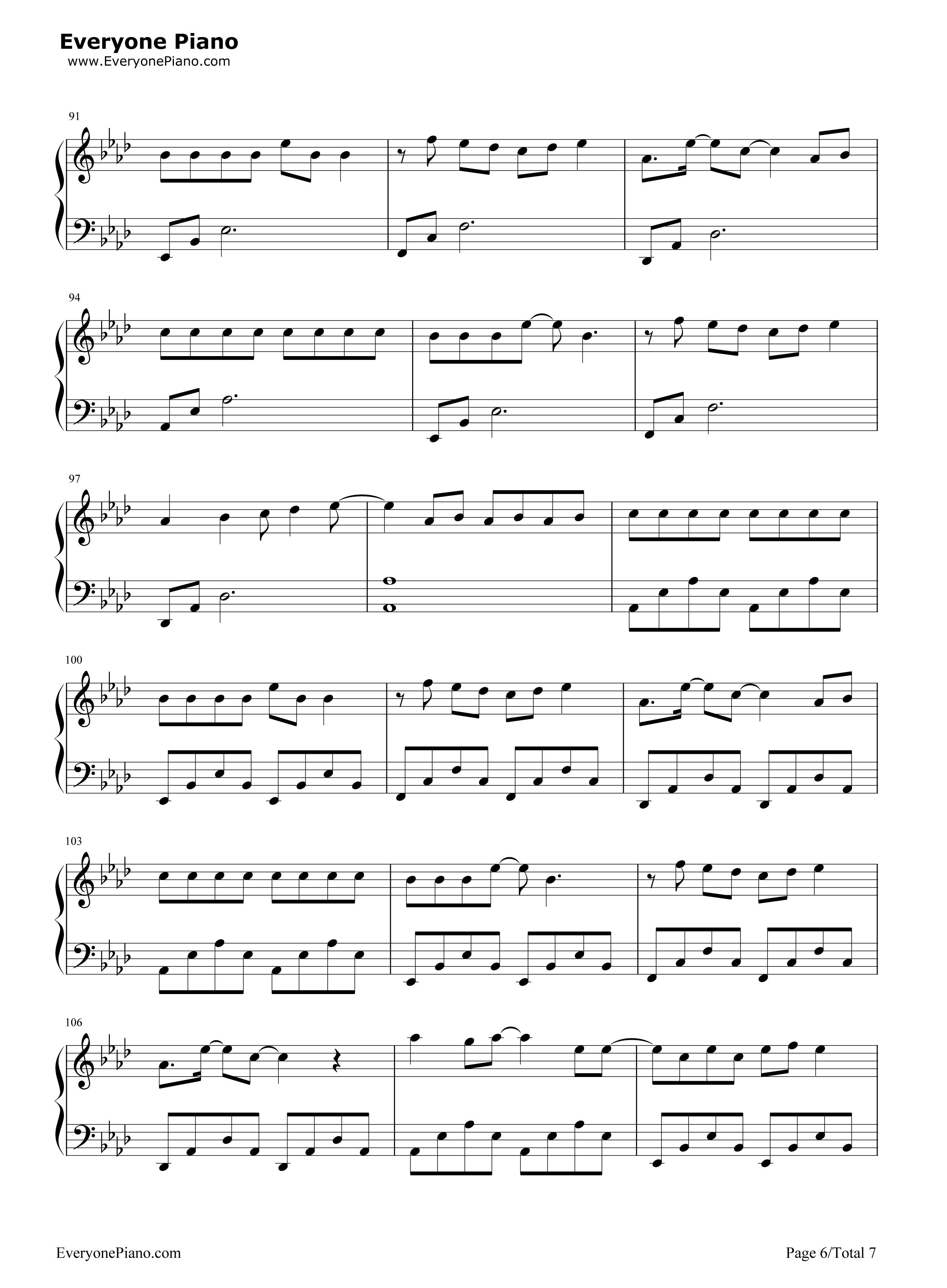 我们的时光-tfboys五线谱预览6-钢琴谱档(五线谱,双手