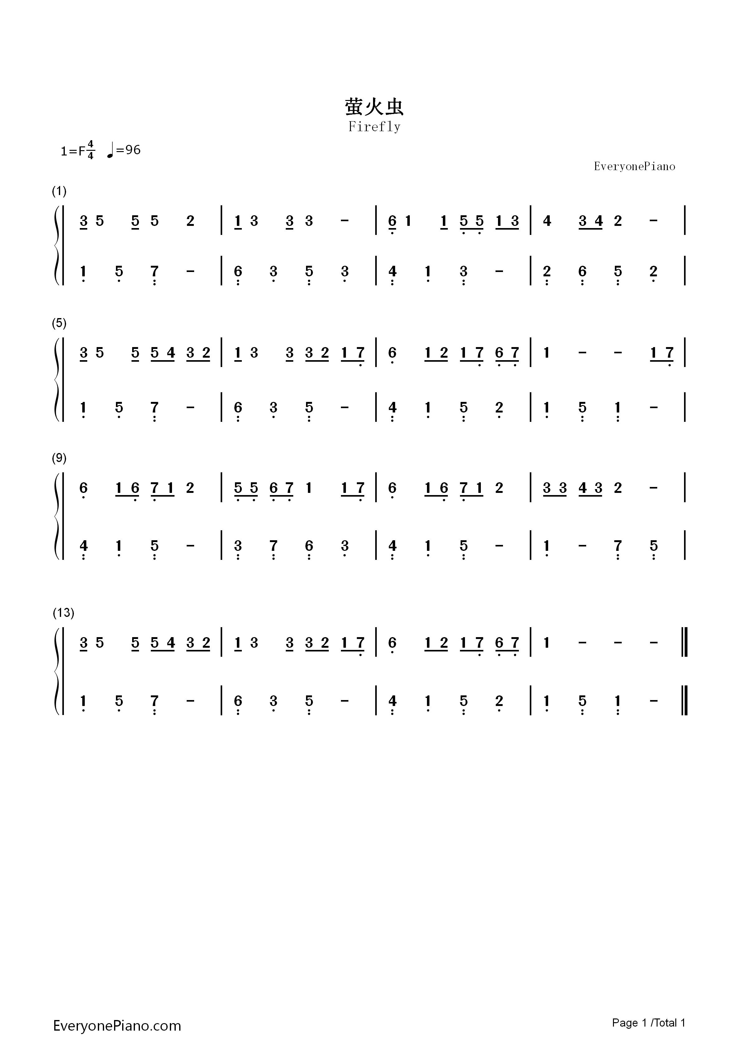 萤火虫双手简谱预览1-钢琴谱档(五线谱,双手简谱,数位