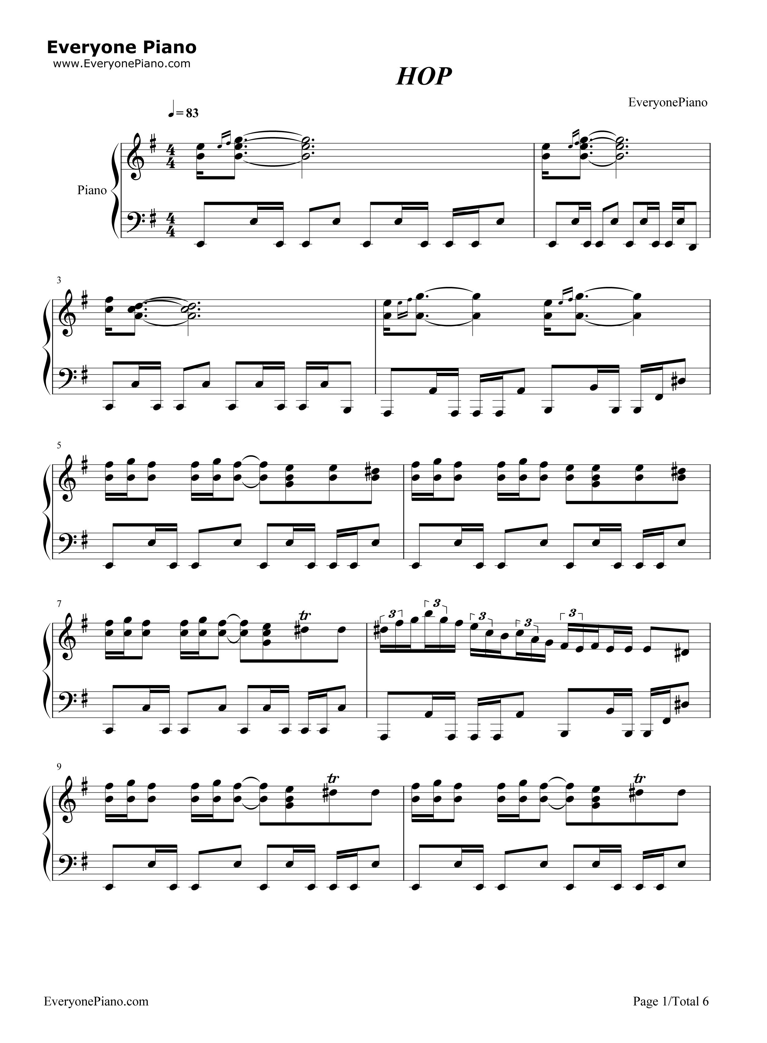 钢琴曲谱 流行 hop-azis hop-azis五线谱预览1  }  仅供学习交流使用!